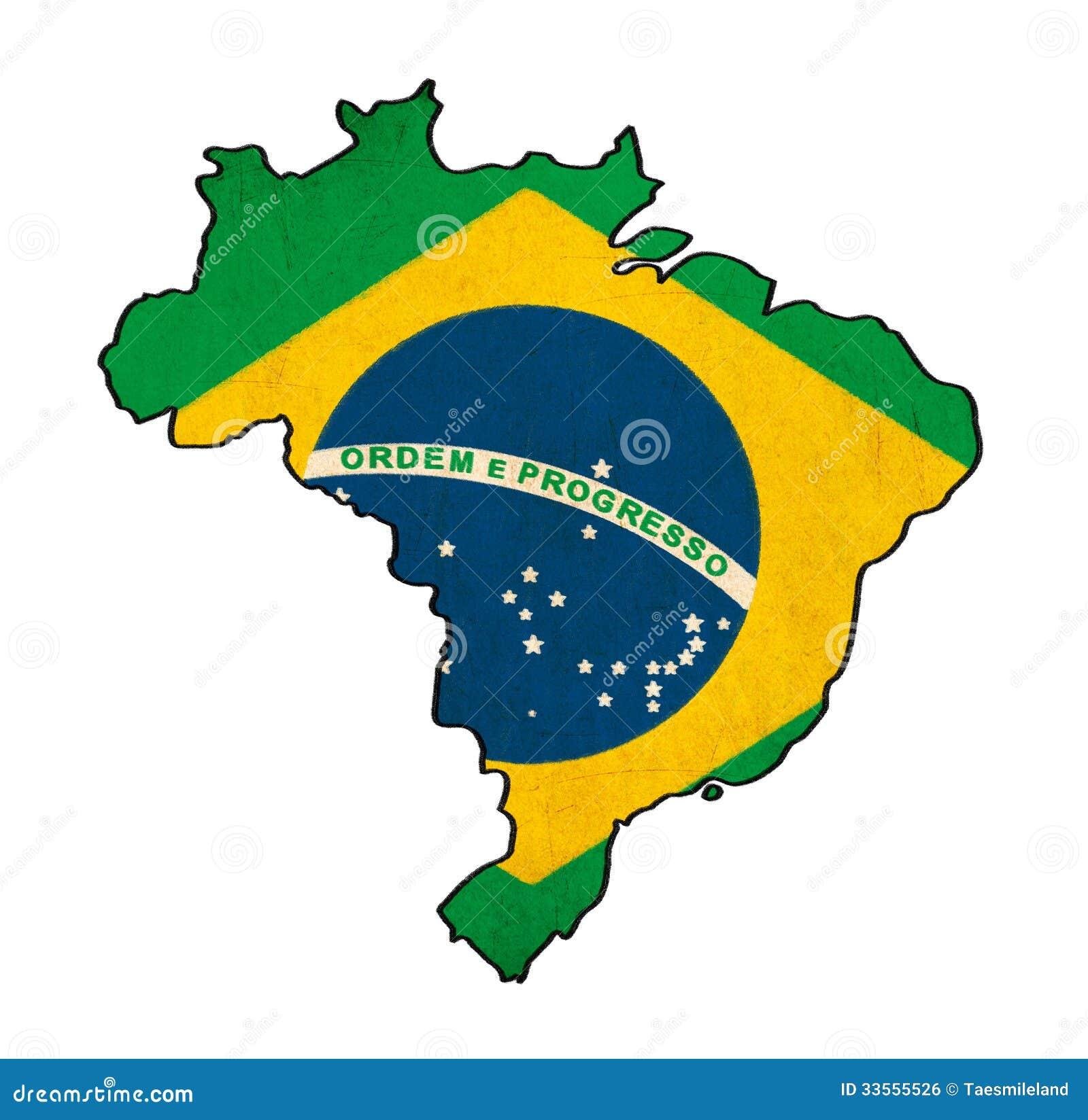 Mapa De Brasil No Desenho Da Bandeira De Brasil Ilustracao Stock
