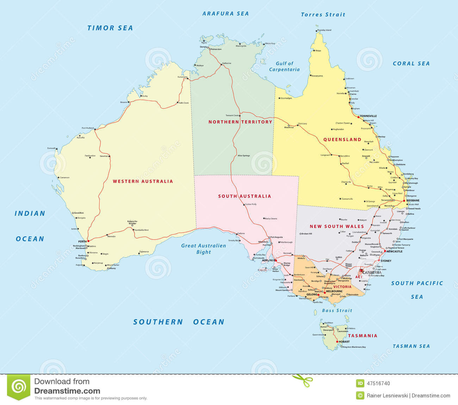 Mapa De Camino De Australia Ilustracion Del Vector Ilustracion