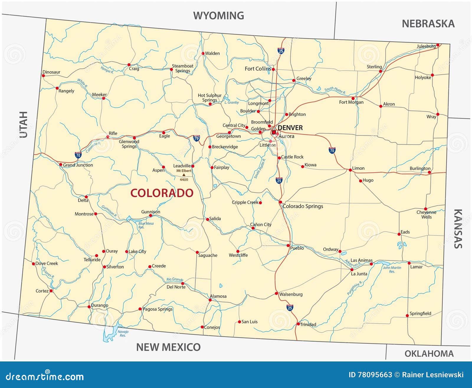 Mapa De Camino De Colorado Ilustración Del Vector Ilustración De - Mapa de colorado usa