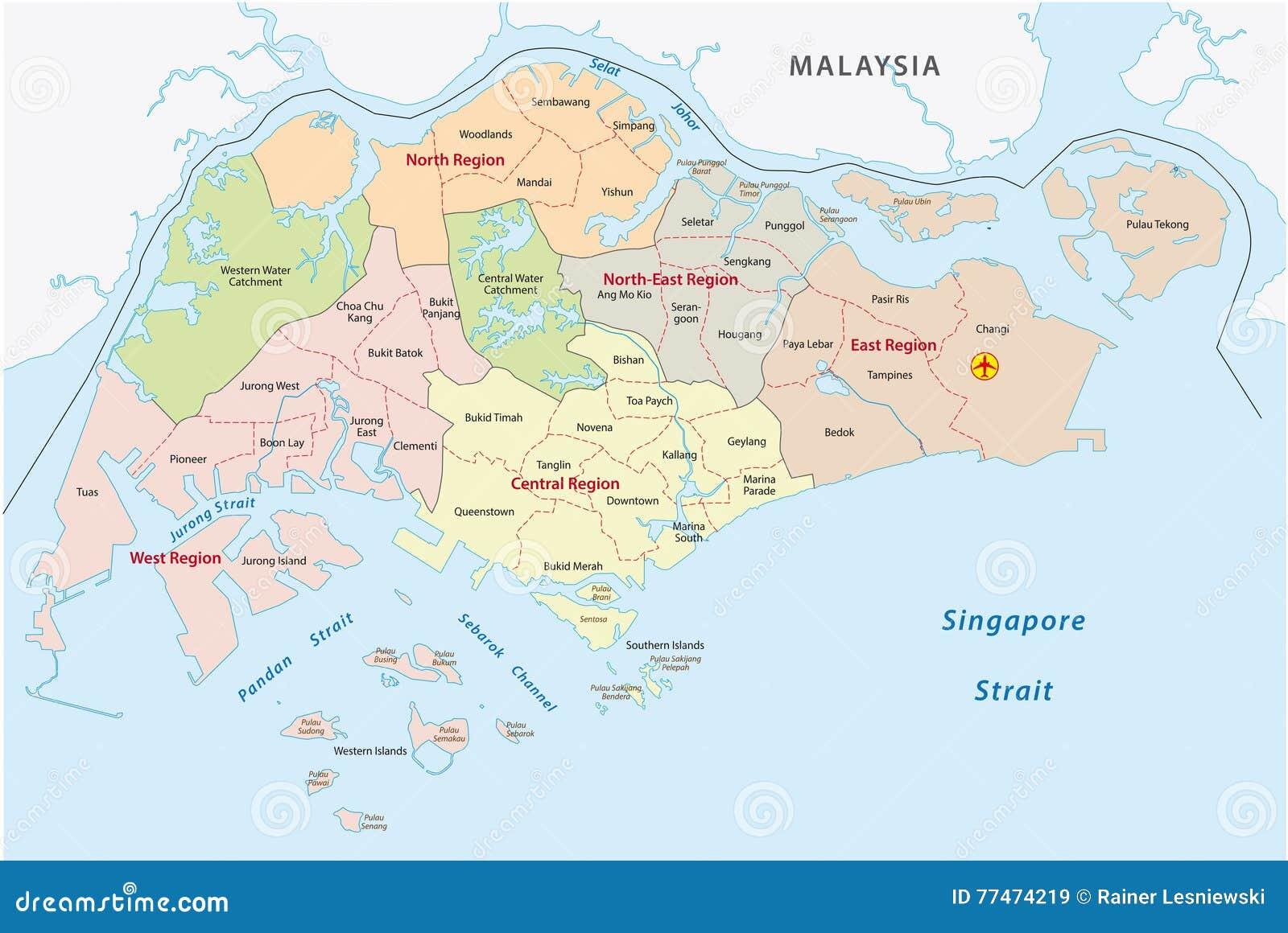 Mapa De Camino De Singapur Stock De Ilustracion Ilustracion De