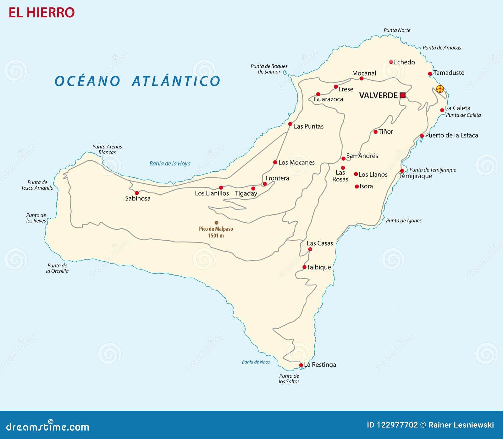 Mapa De El Hierro.Mapa De Camino Del Vector Del Mapa Del Hierro Del El Del