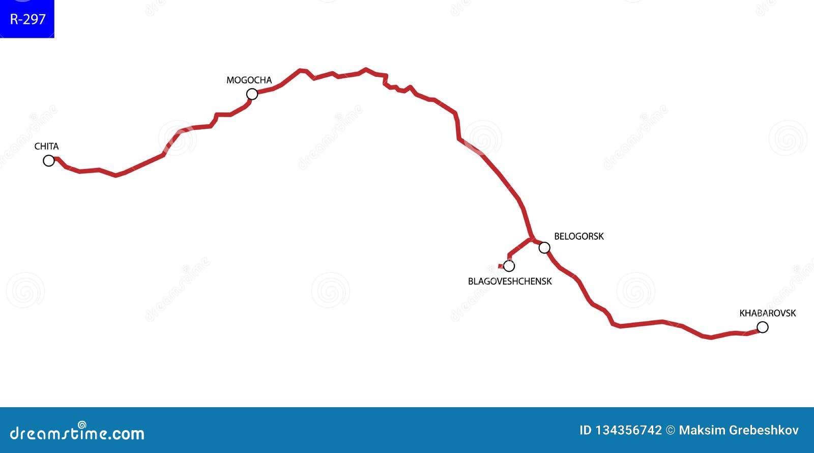 Mapa De Camino De Rusia Stock De Ilustracion Ilustracion De Ruta