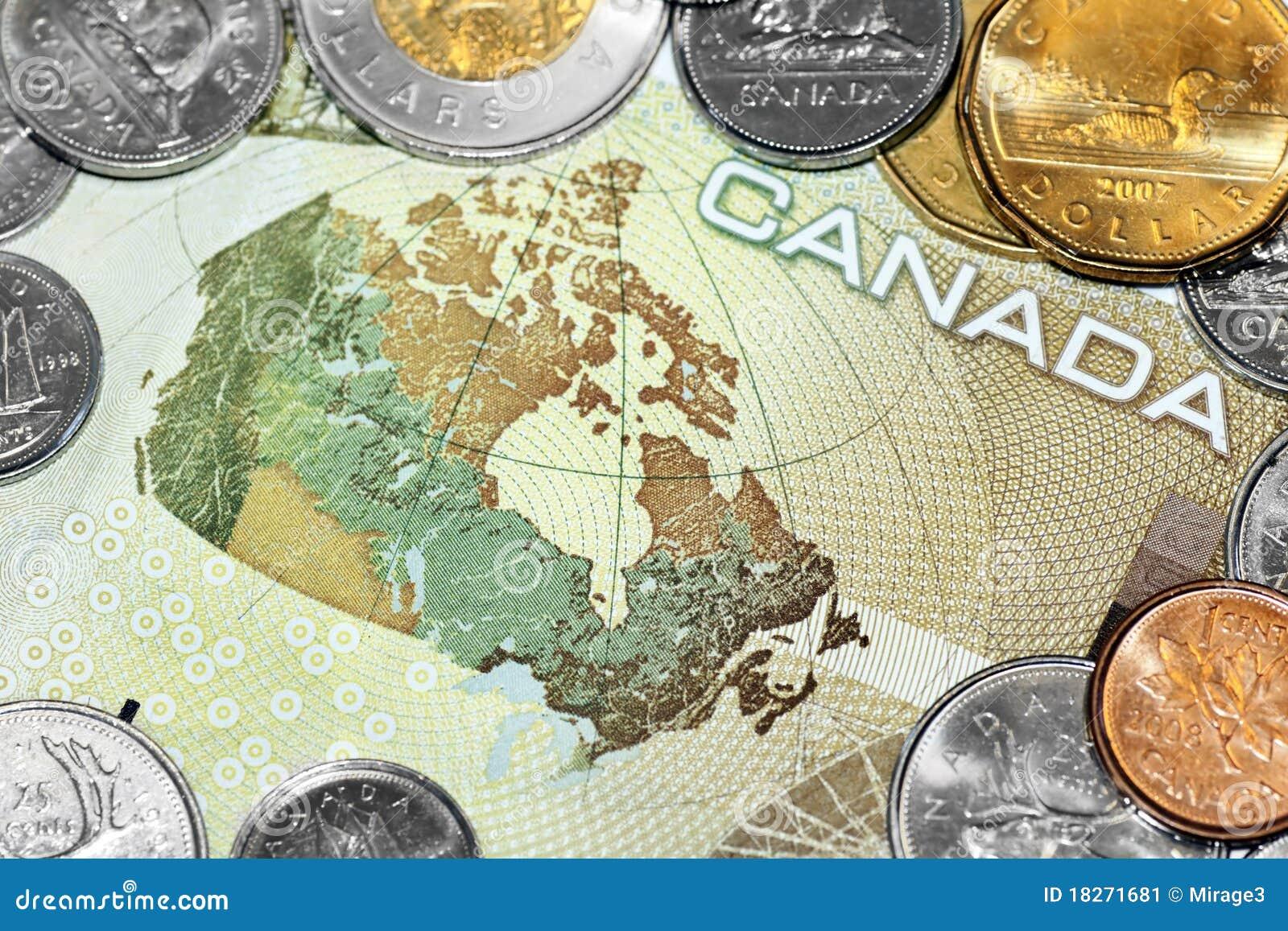 Mapa de Canadá na conta de dinheiro