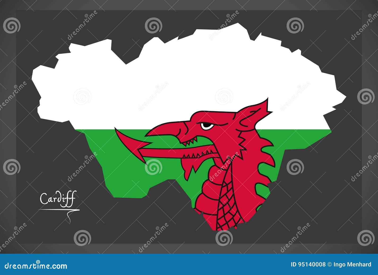 Mapa De Cardiff País De Gales Con La Bandera Nacional Galés ...