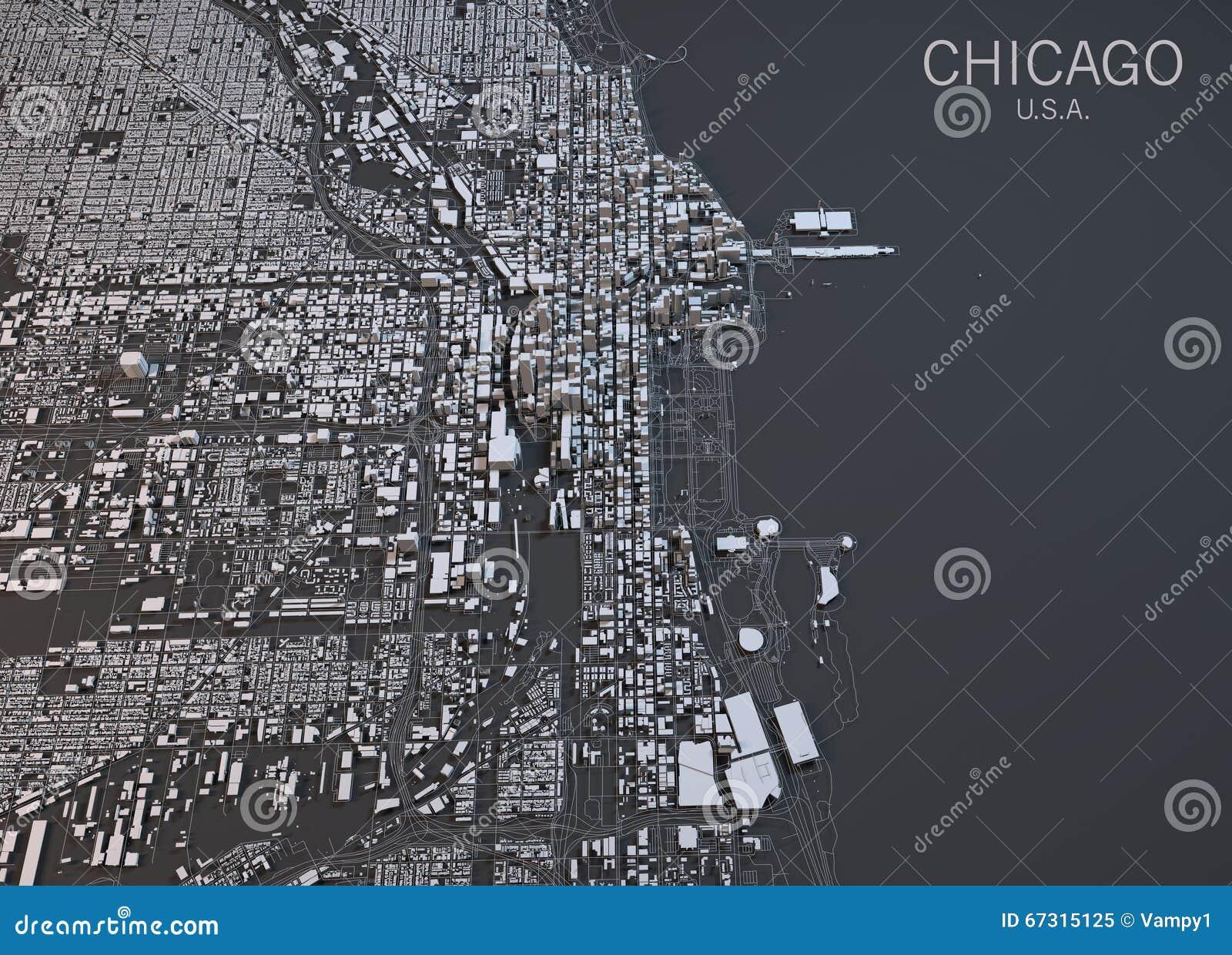 mapa de chicago, visión por satélite, estados unidos stock