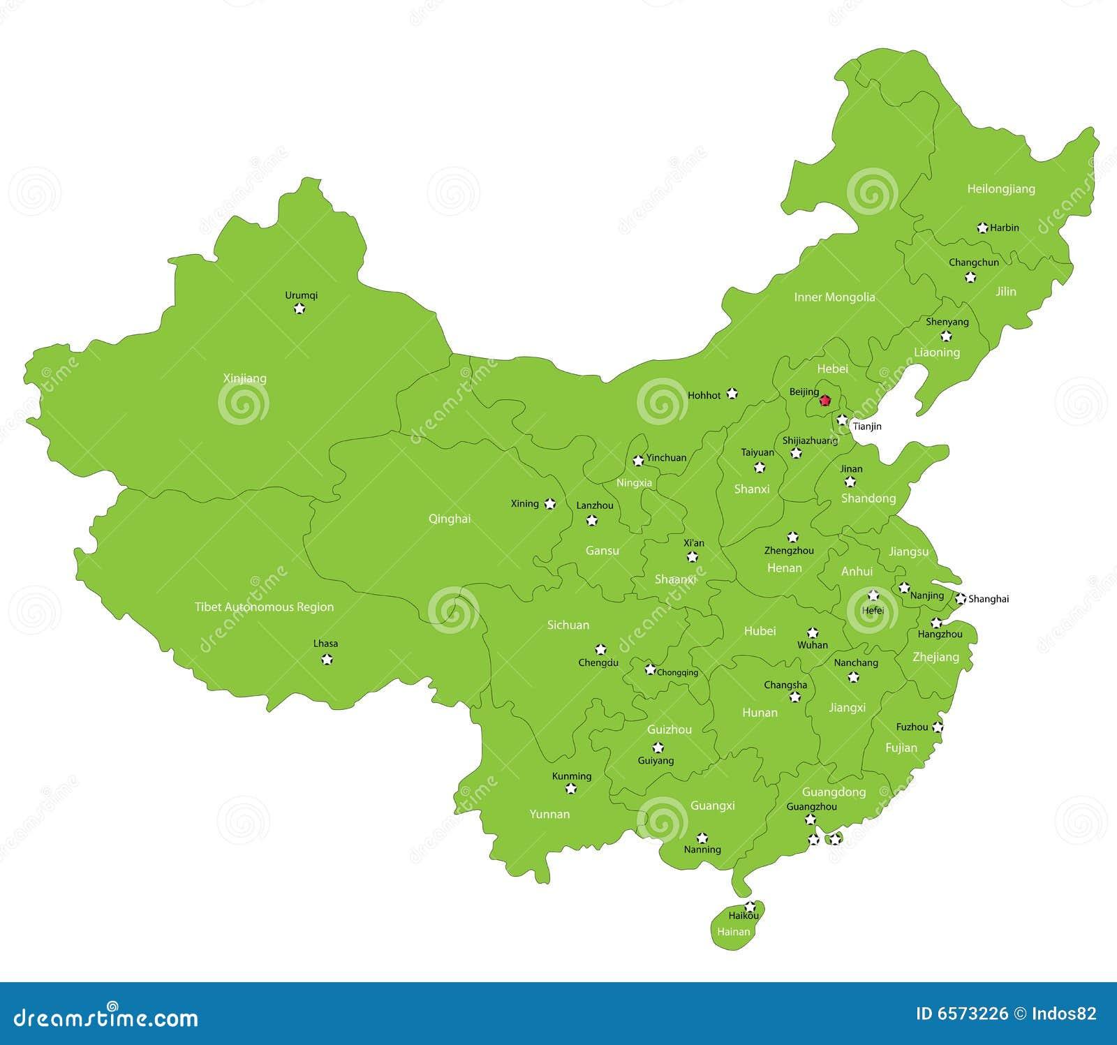 Mapa de China do vetor