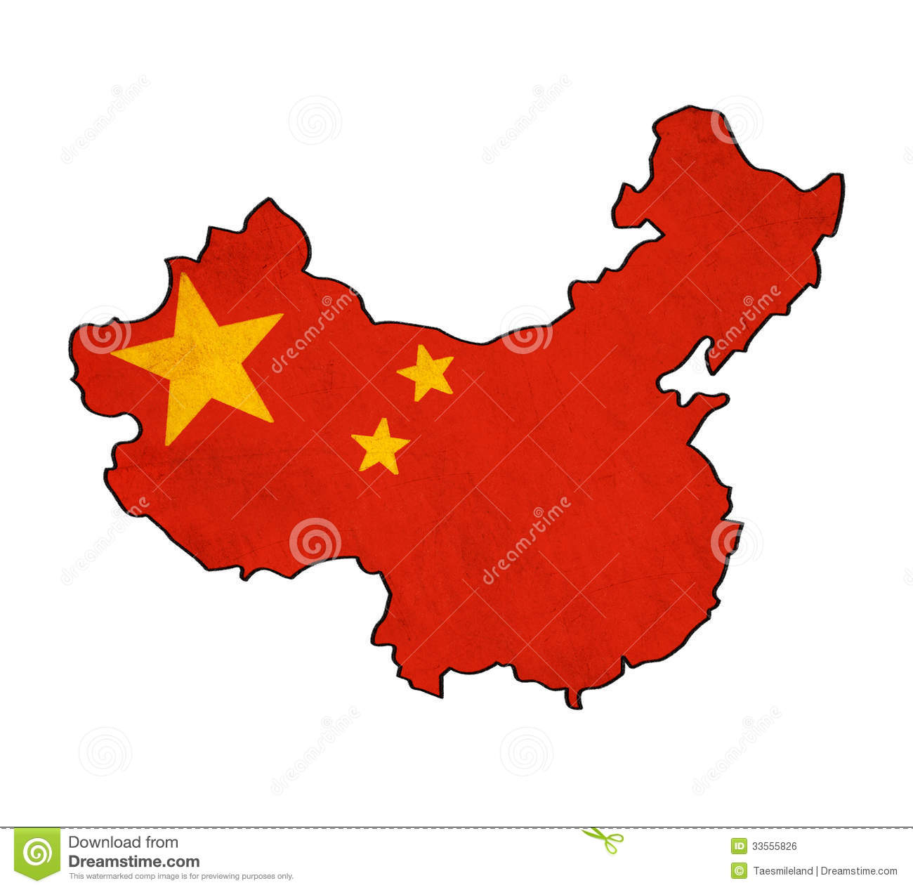 Mapa De China En El Dibujo De La Bandera De China Stock de ...
