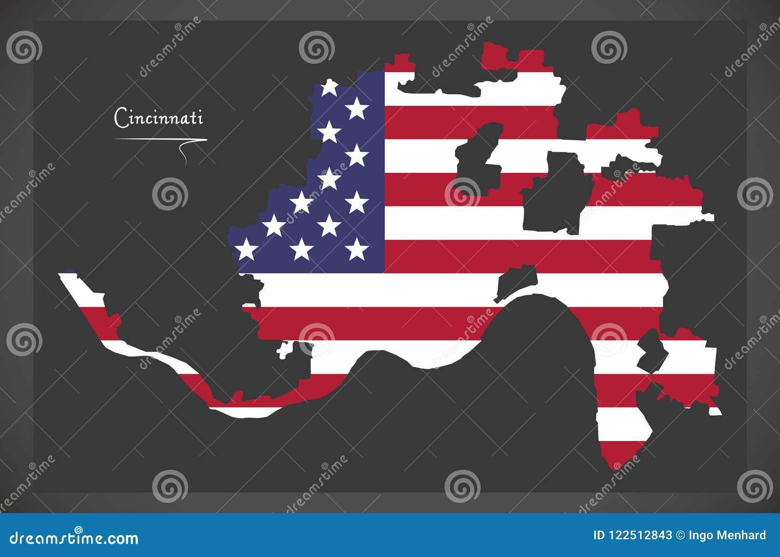 Mapa De Cincinnati Ohio Com Ilustracao Americana Da Bandeira
