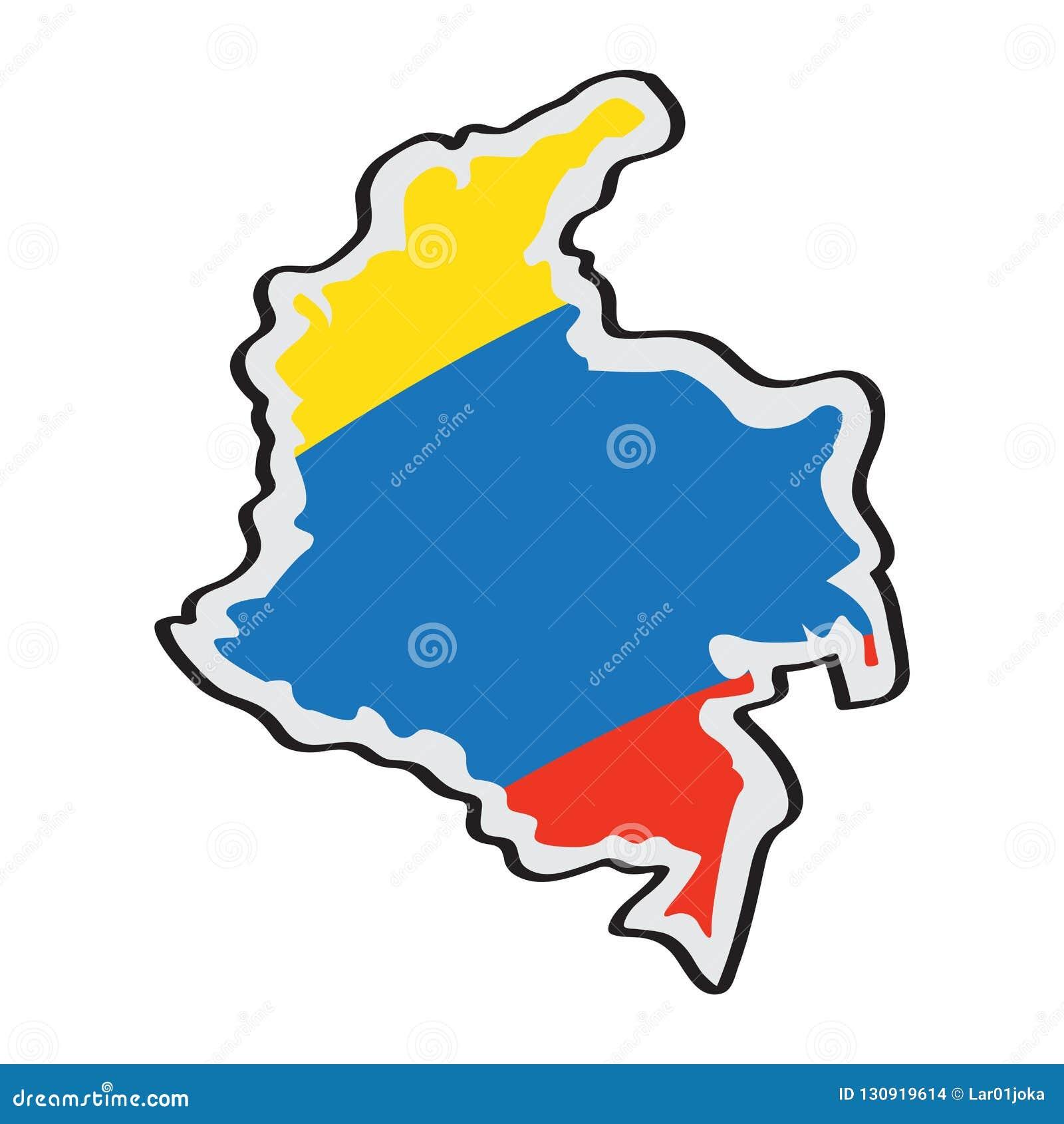 Mapa de Colômbia com sua bandeira