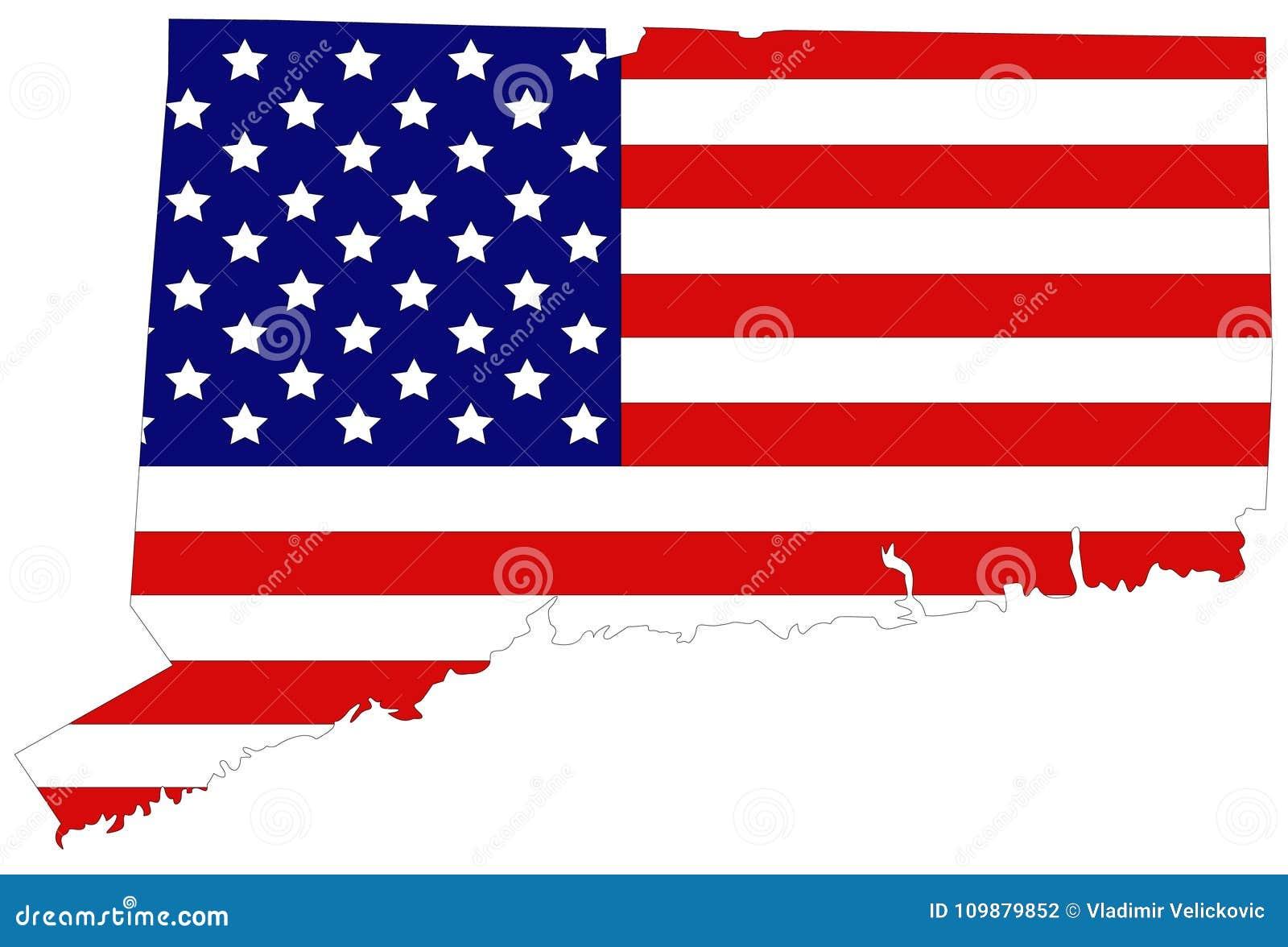 Mapa De Connecticut Con La Bandera De Los E.E.U.U. - Estado De Los ...