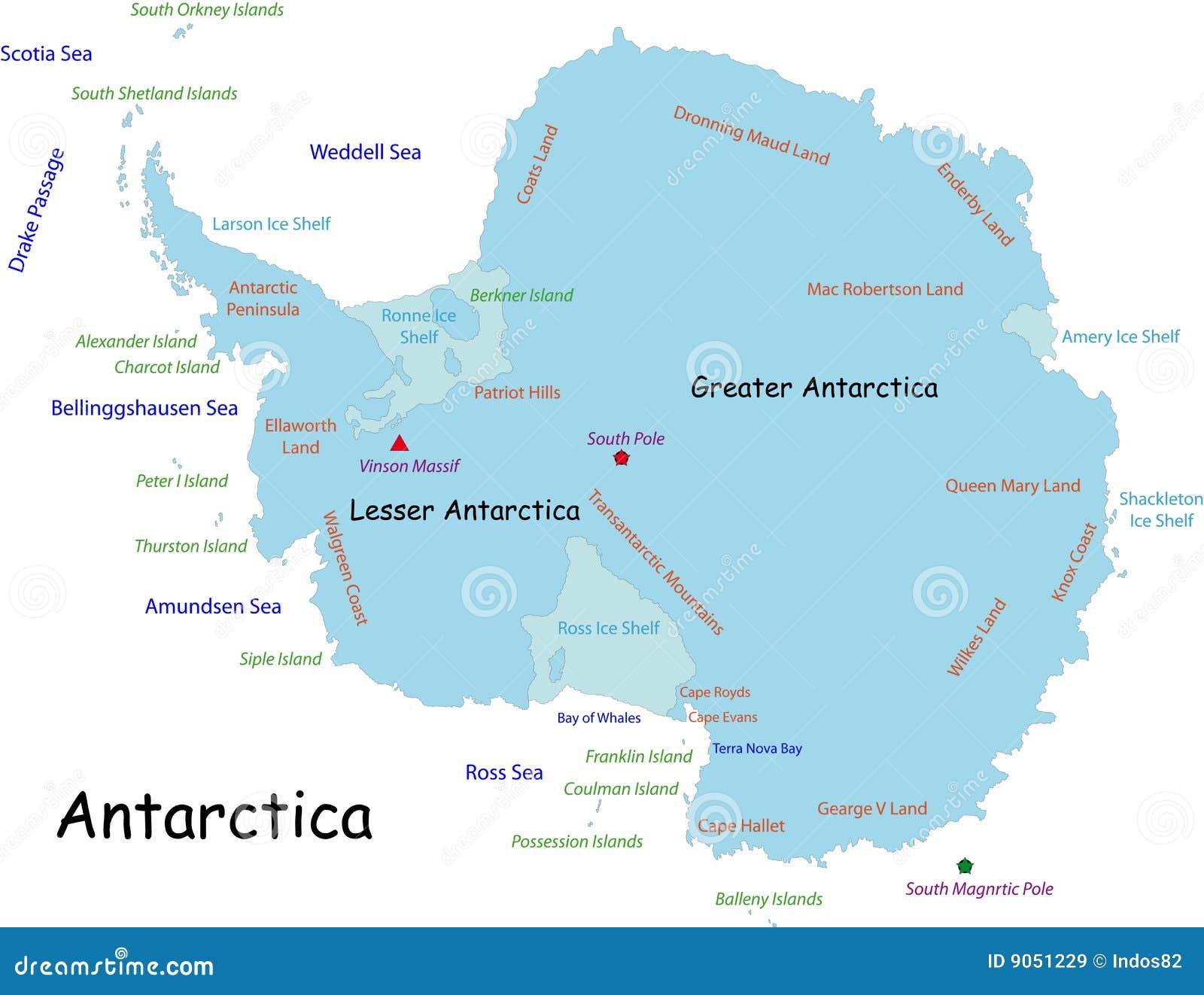 Mapa de Continente antárctico