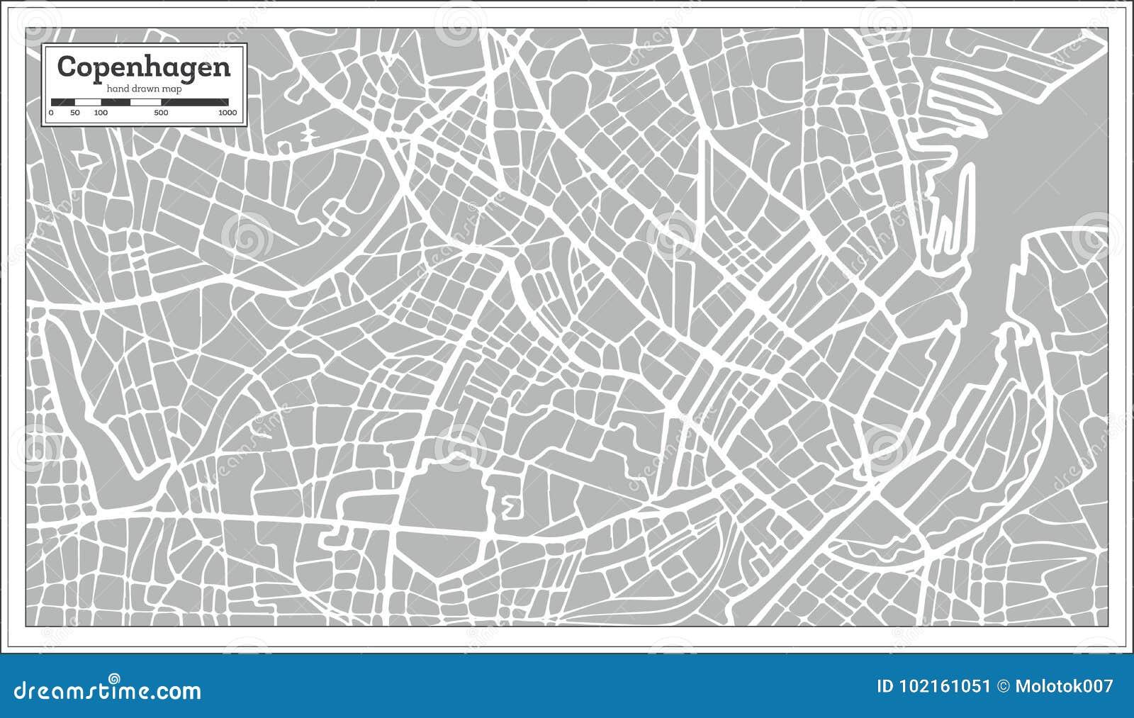 Mapa De Copenhague En Estilo Retro Mano Drenada Ilustracion Del