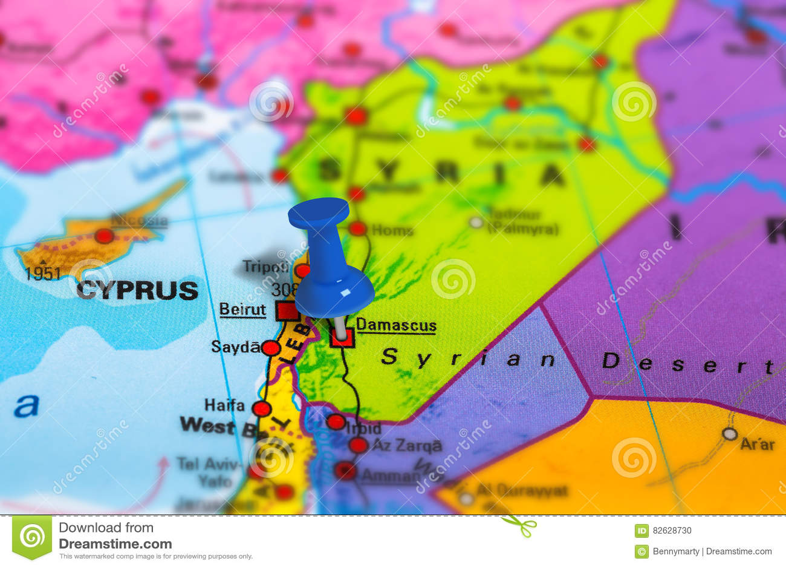 Mapa De Damasco Siria Foto De Archivo Imagen De Geográfico 82628730