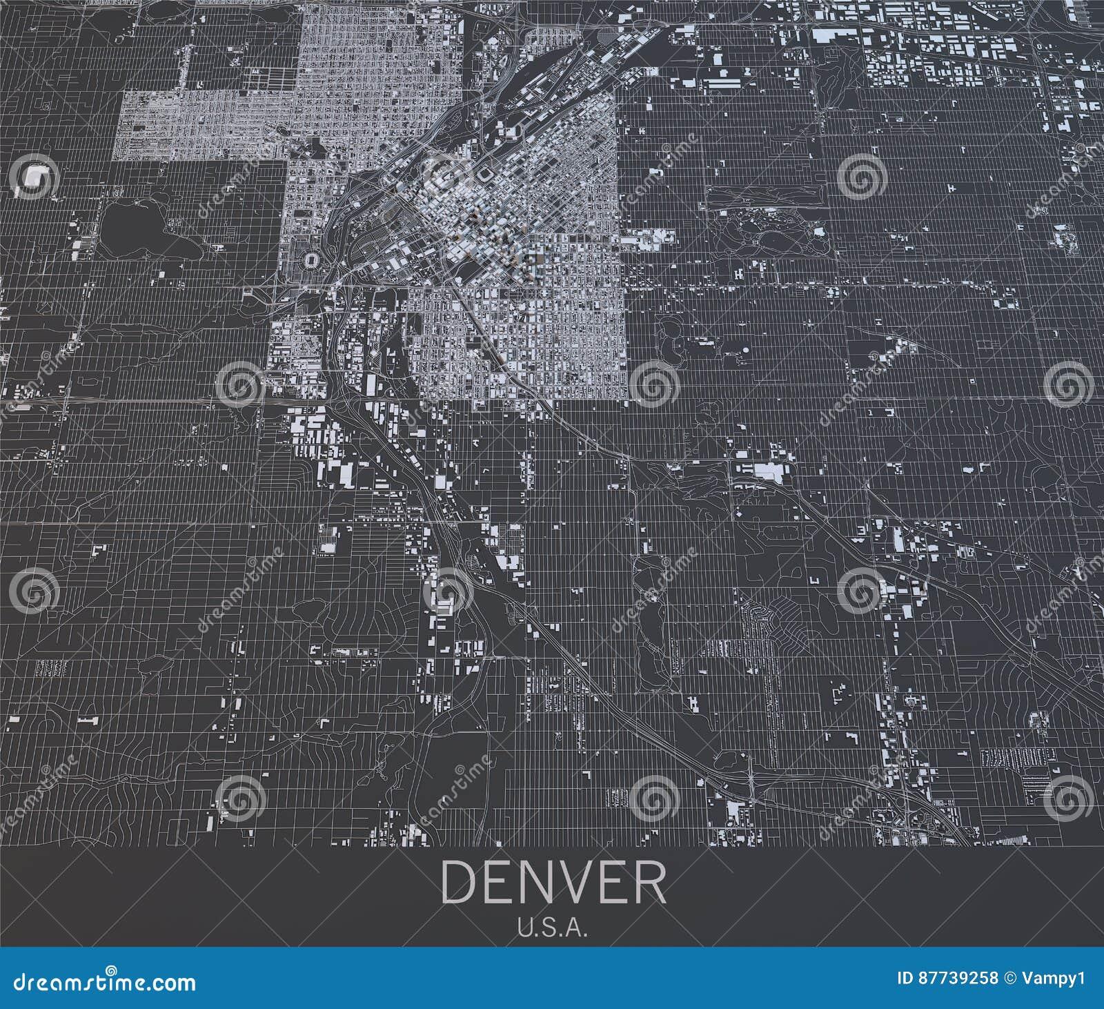 Mapa de Denver, visión por satélite, Estados Unidos