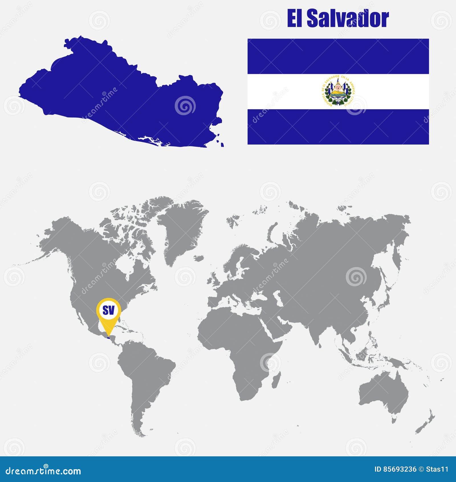 Mapa De El Salvador En Un Mapa Del Mundo Con El Indicador De La