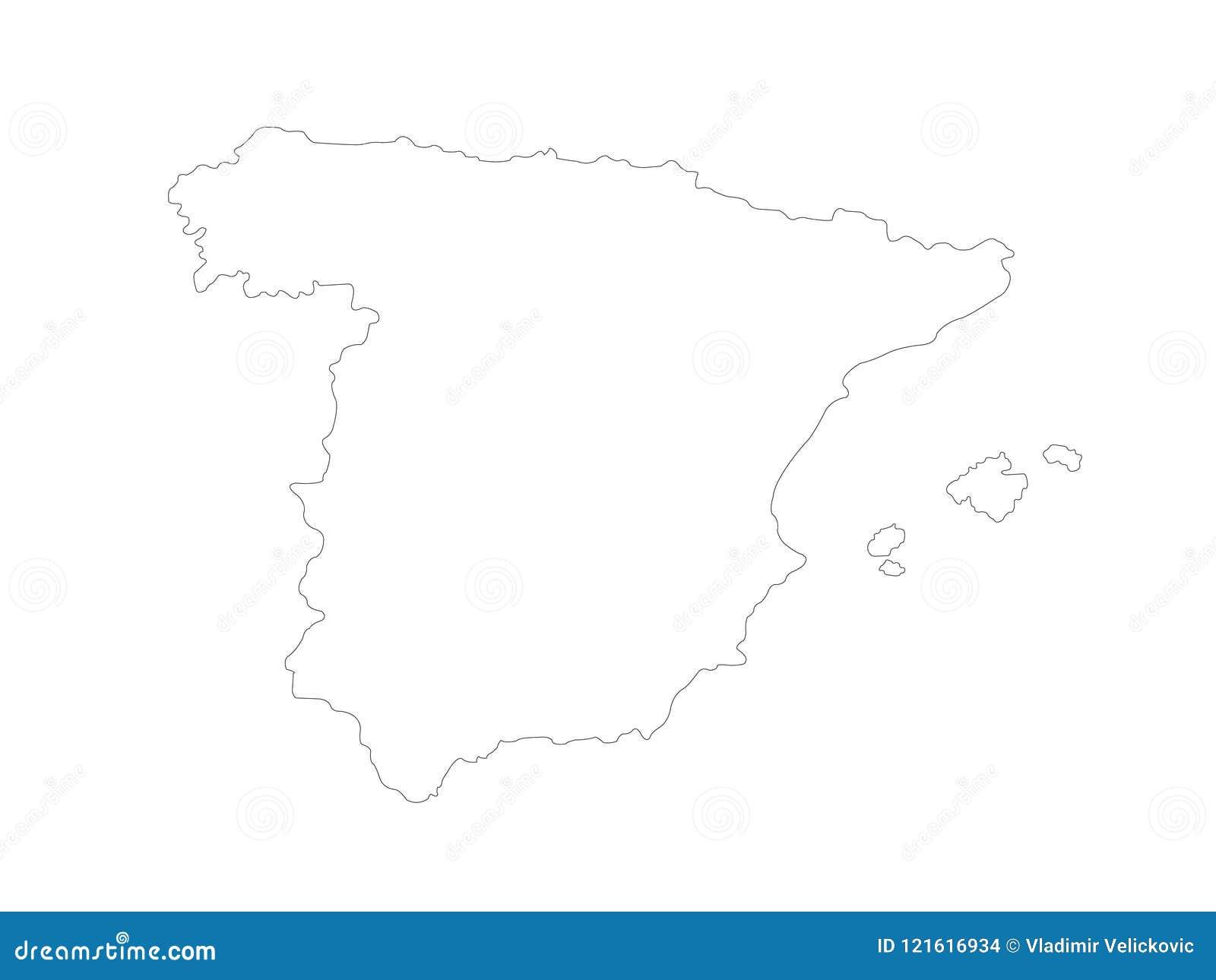 Mapa De España Estado Soberano En La Península Ibérica En Europa Ilustración Del Vector Ilustración De Recorrido Fichero 121616934