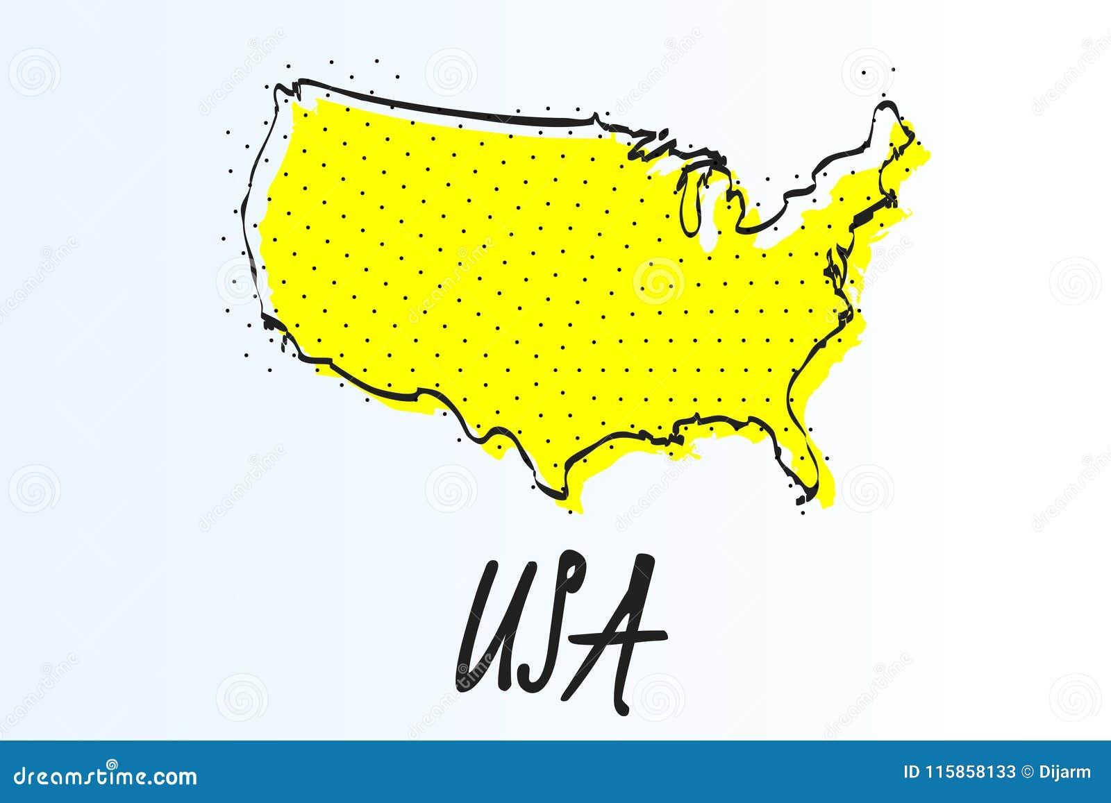 Mapa de Estados Unidos, fondo abstracto de semitono r