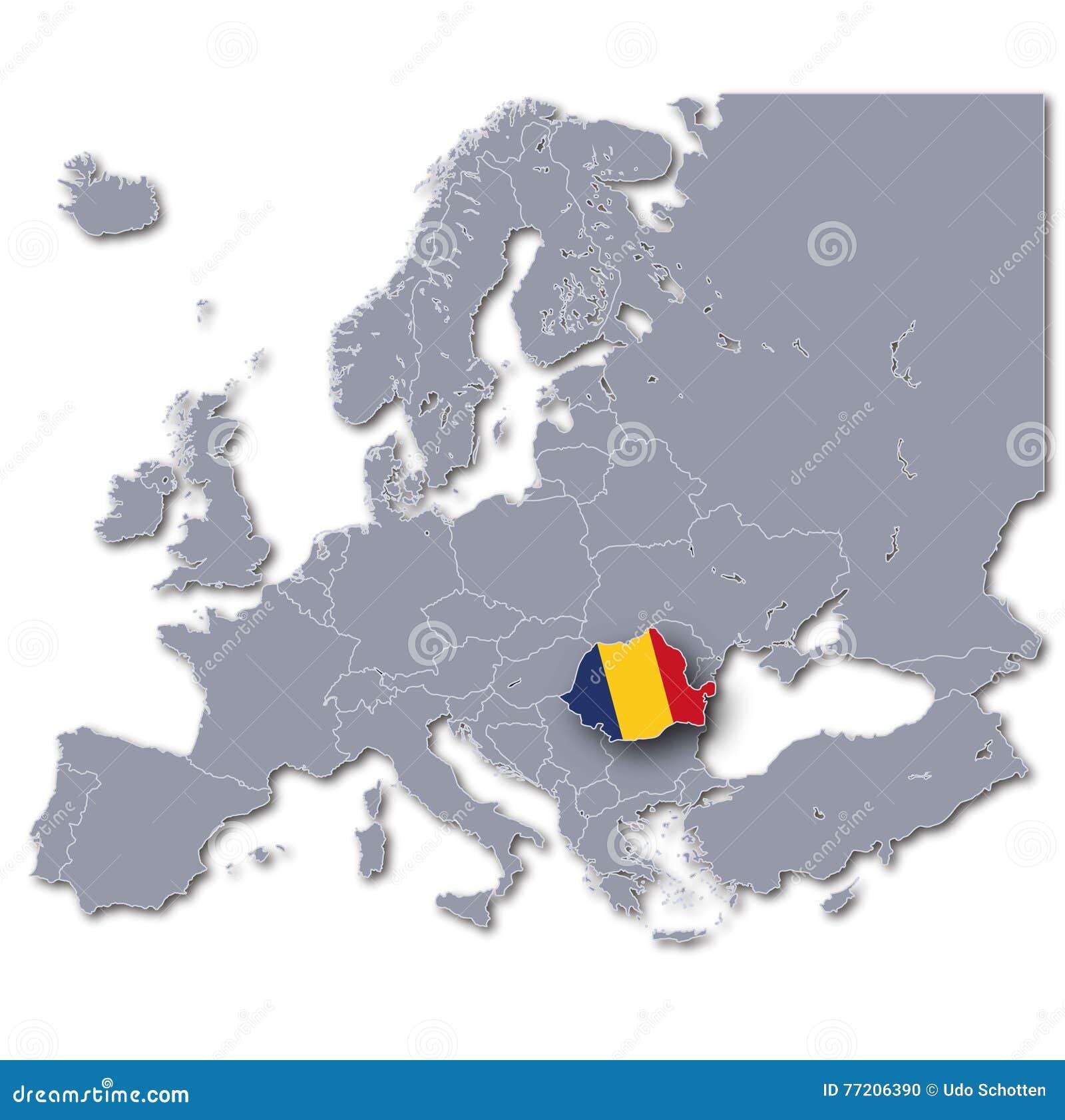Mapa de Europa com Romênia