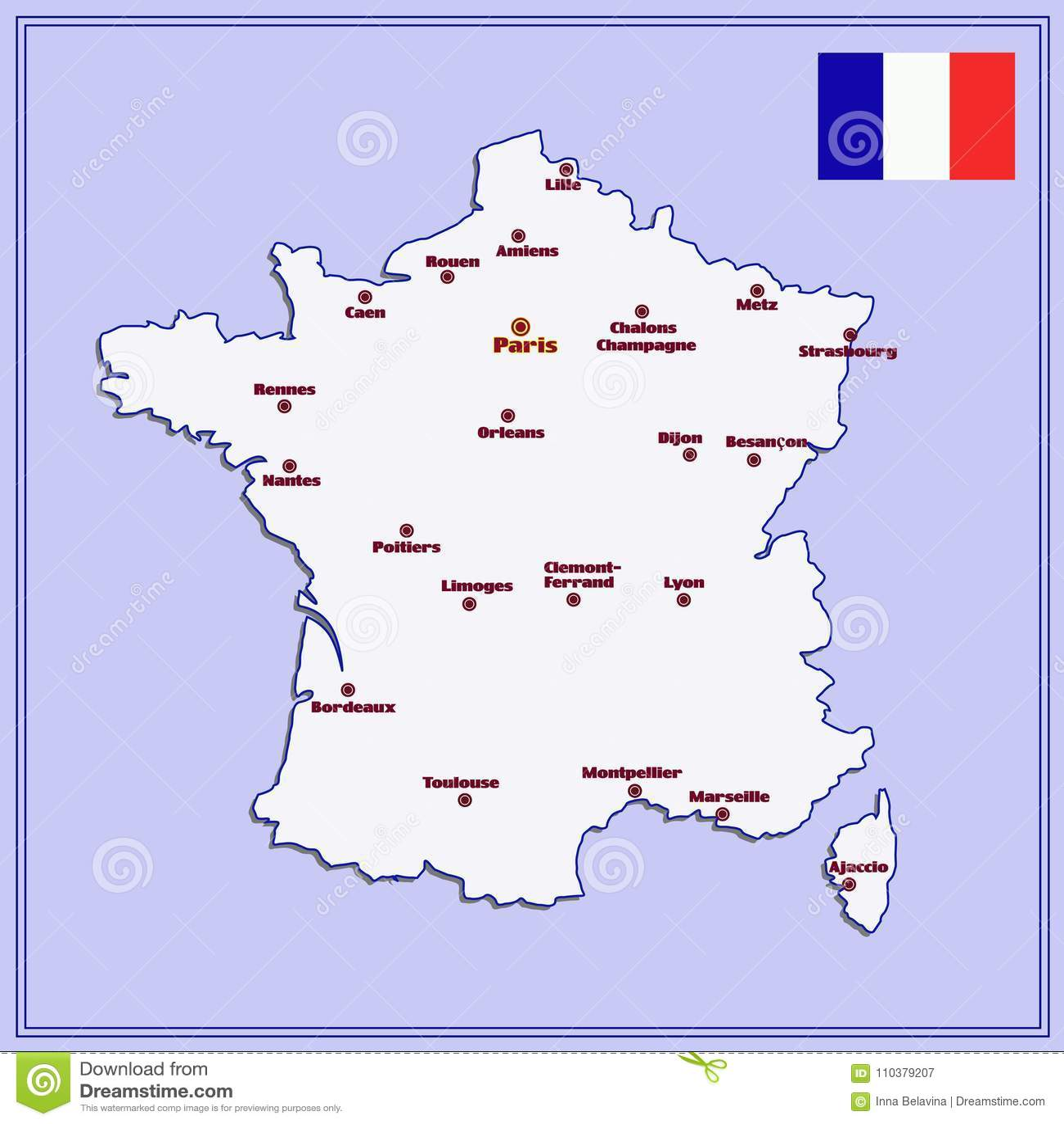 Mapa De Francia Con Las Ciudades Grandes Stock De Ilustracion