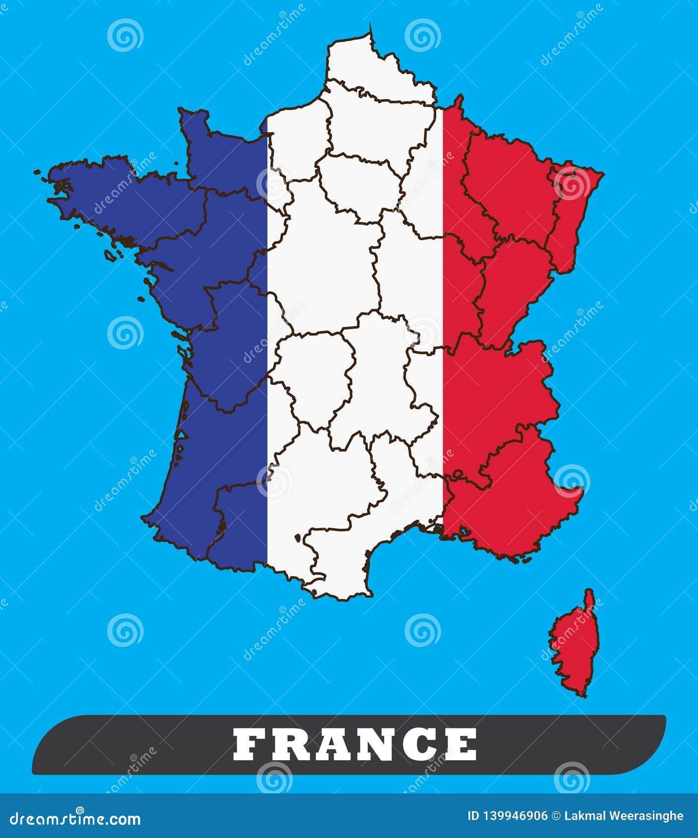 Mapa de Francia y bandera de Francia