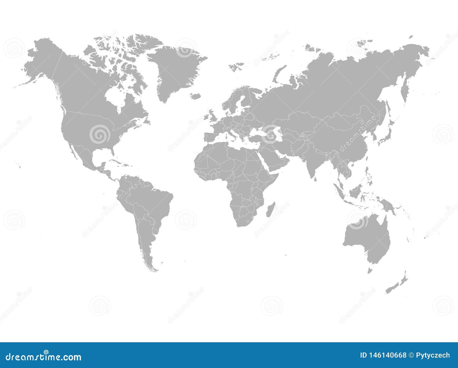 Mapa de Grey World en el fondo blanco Alto espacio en blanco del detalle pol?tico Ilustraci?n del vector