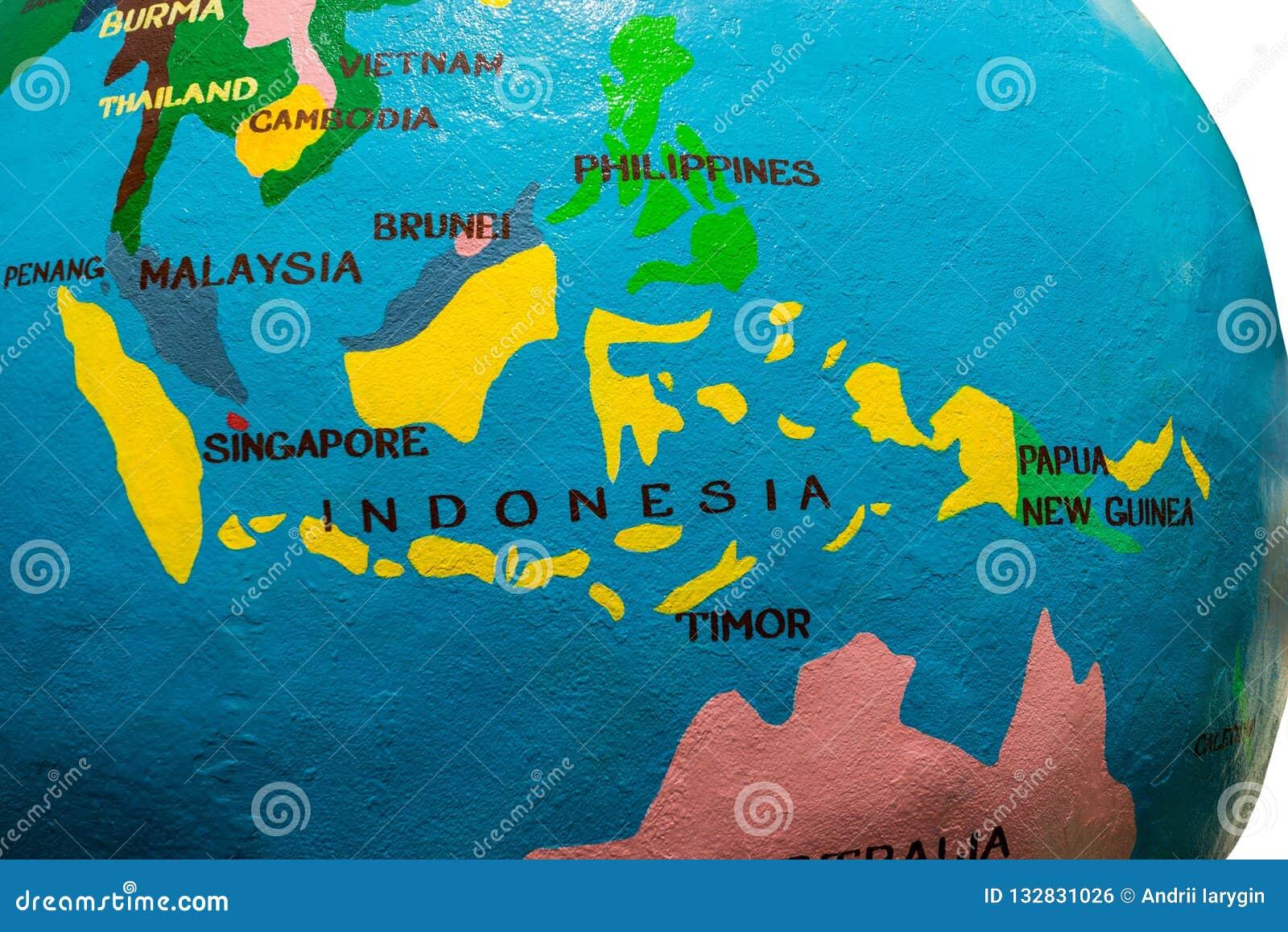 Mapa de Indonésia e de malaysia