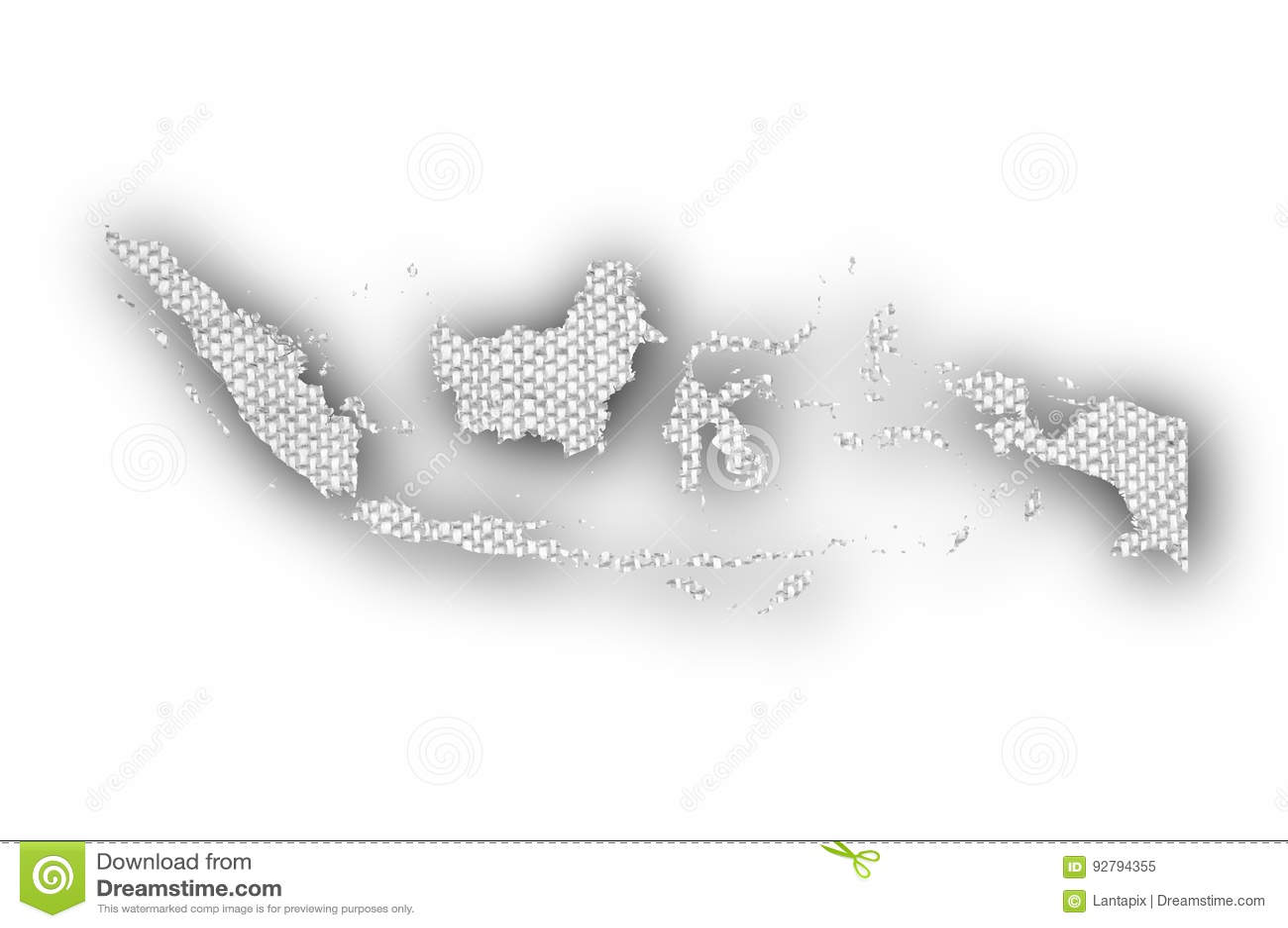 Mapa de Indonesia en el lino viejo