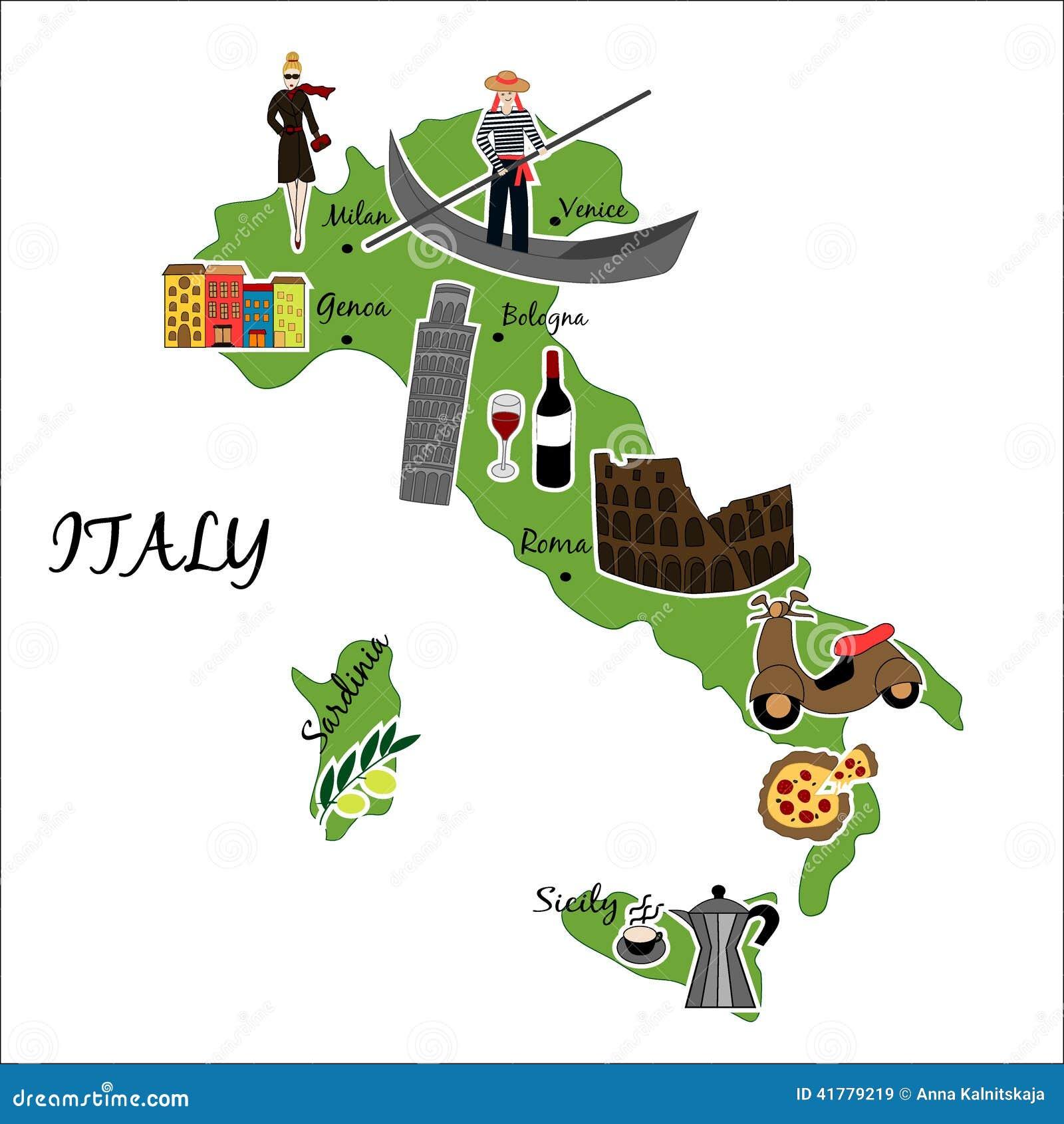 Mapa de Italia con las características típicas