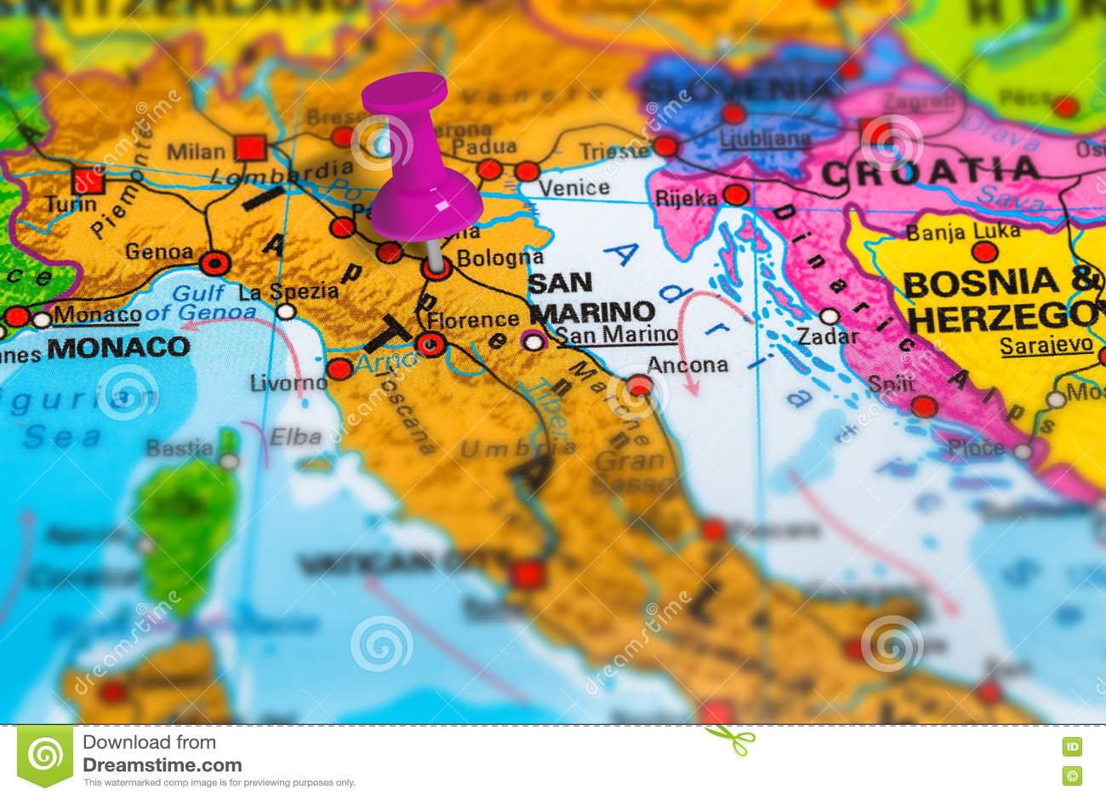 Mapa De Italia De Bolonia Foto De Archivo Imagen De Direccion