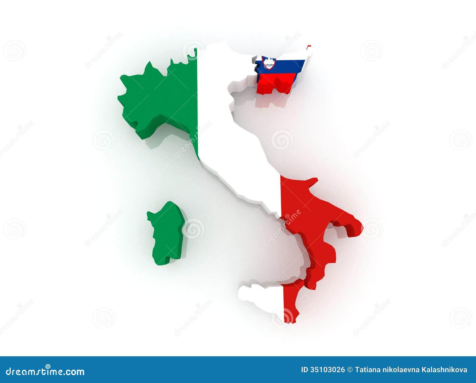 Mapa de Italia y de Eslovenia.
