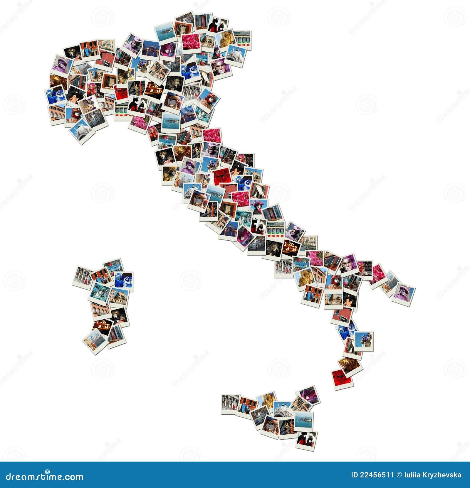 Mapa de Italy - colagem feita de fotos do curso