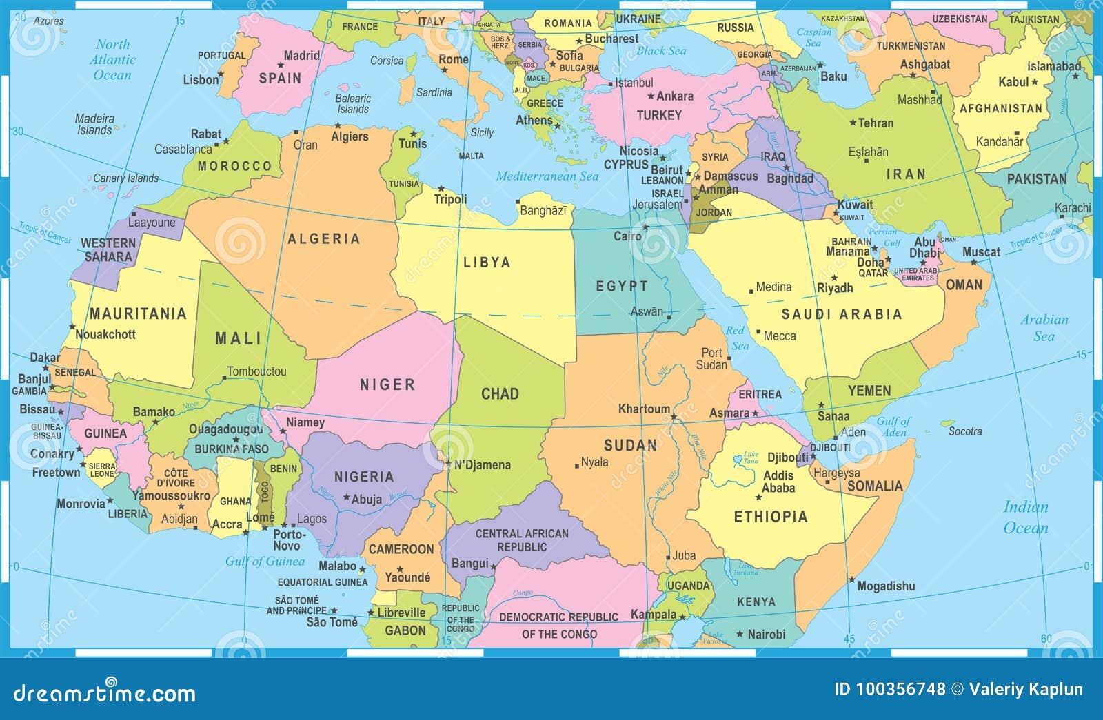 Mapa Africa Del Norte.Mapa De La Africa Del Norte Ejemplo Del Vector Stock De Ilustracion Ilustracion De Norte Africa 100356748