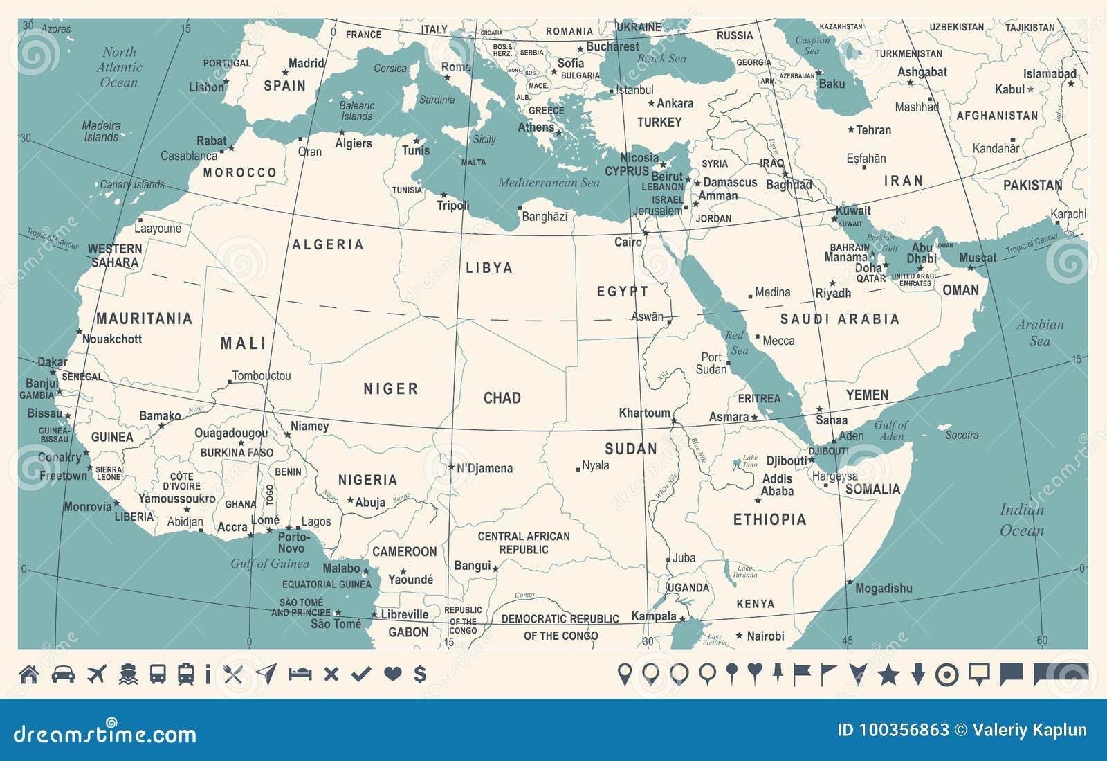 Mapa Africa Del Norte.Mapa De La Africa Del Norte Ejemplo Del Vector Del Vintage Stock De Ilustracion Ilustracion De Vintage Norte 100356863