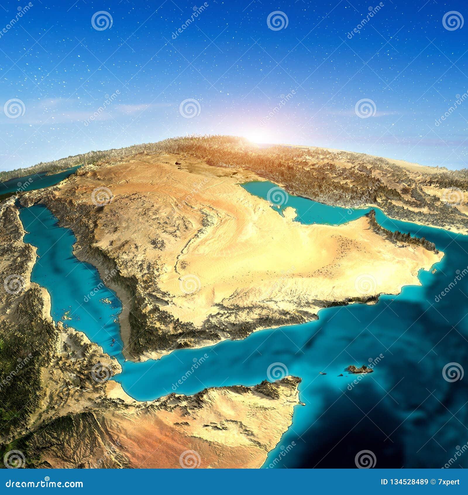 Mapa de la Arabia Saudita 3d