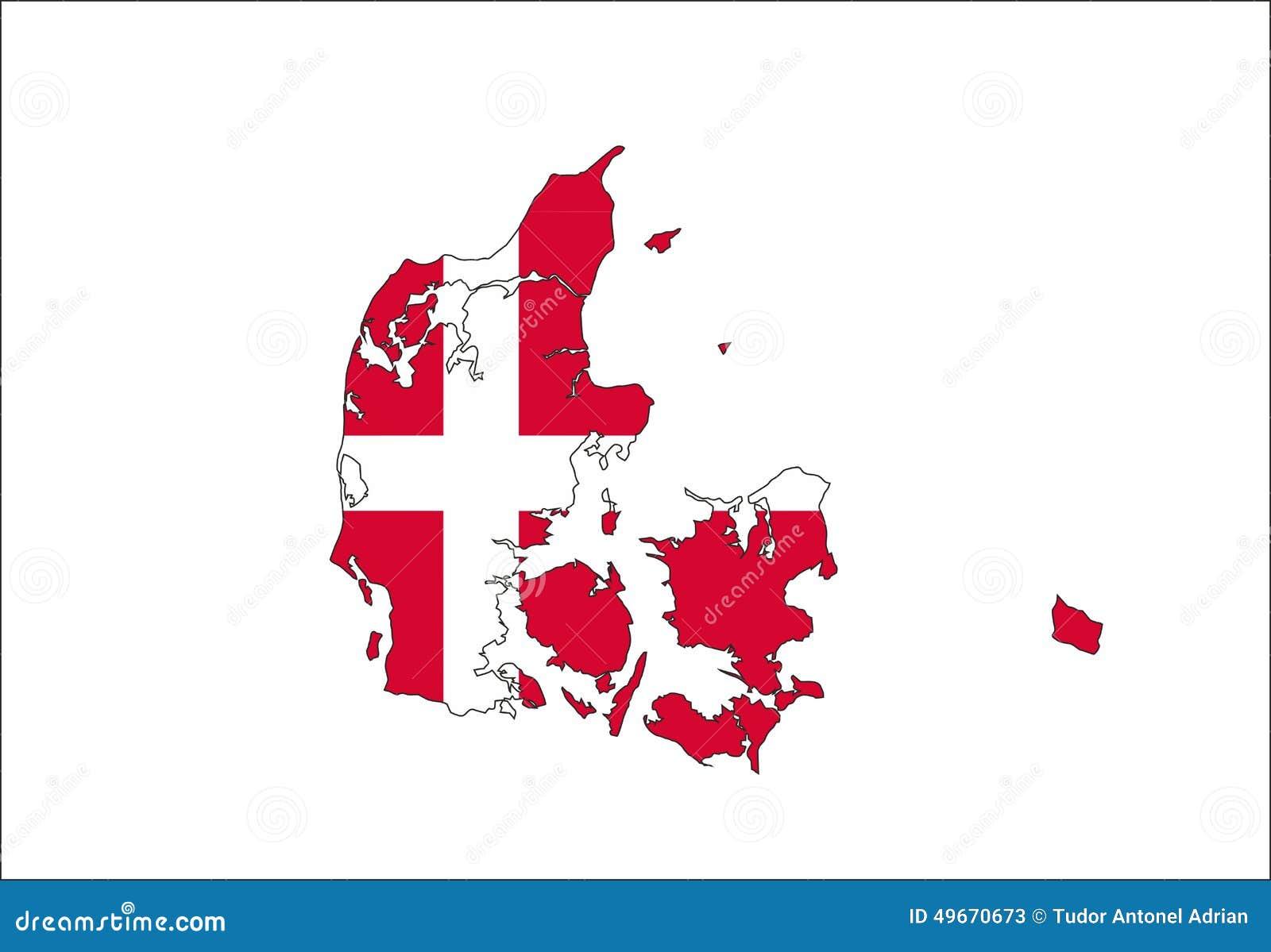 Mapa de la bandera de Dinamarca