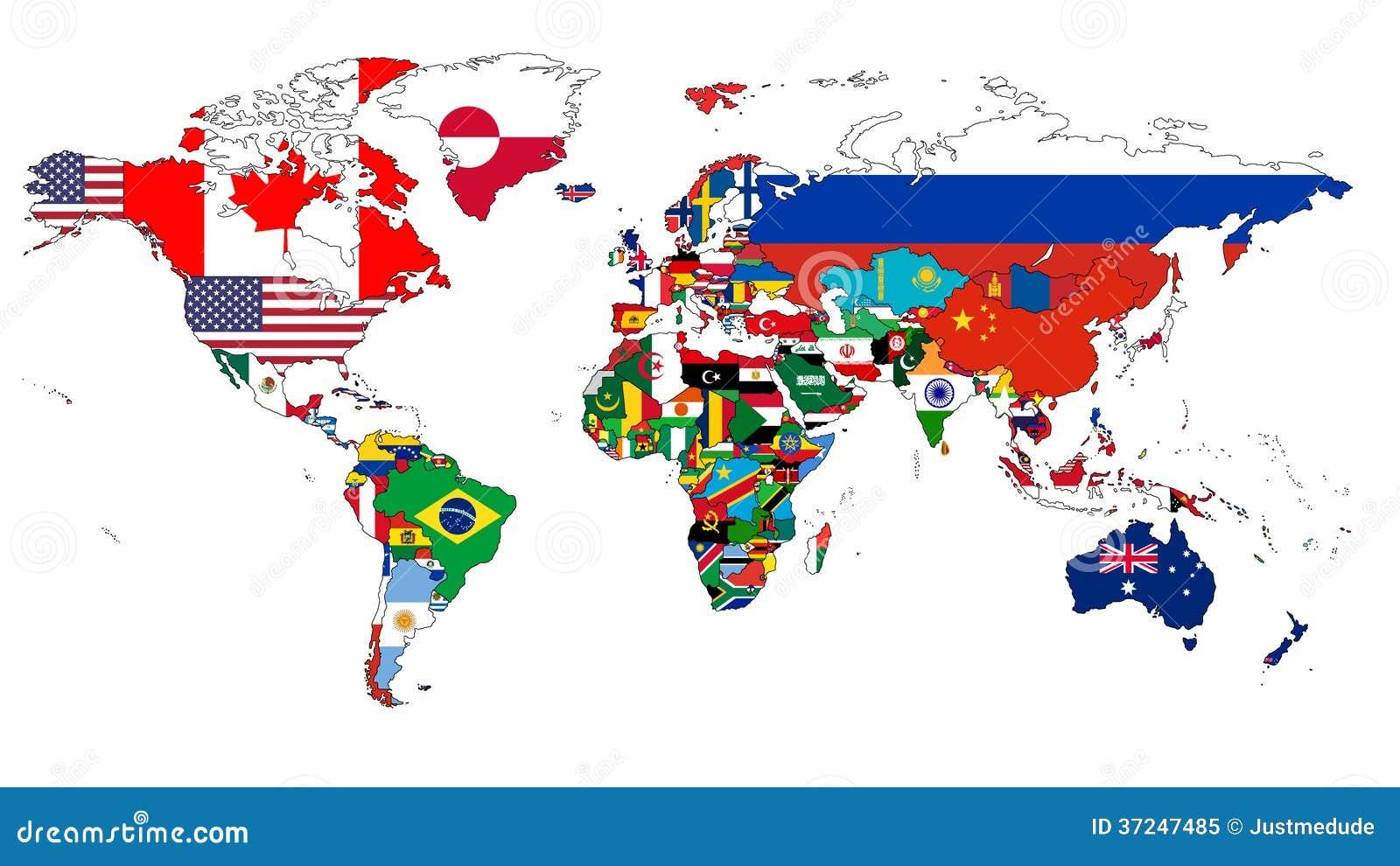 Mapa del mundo y sus banderas