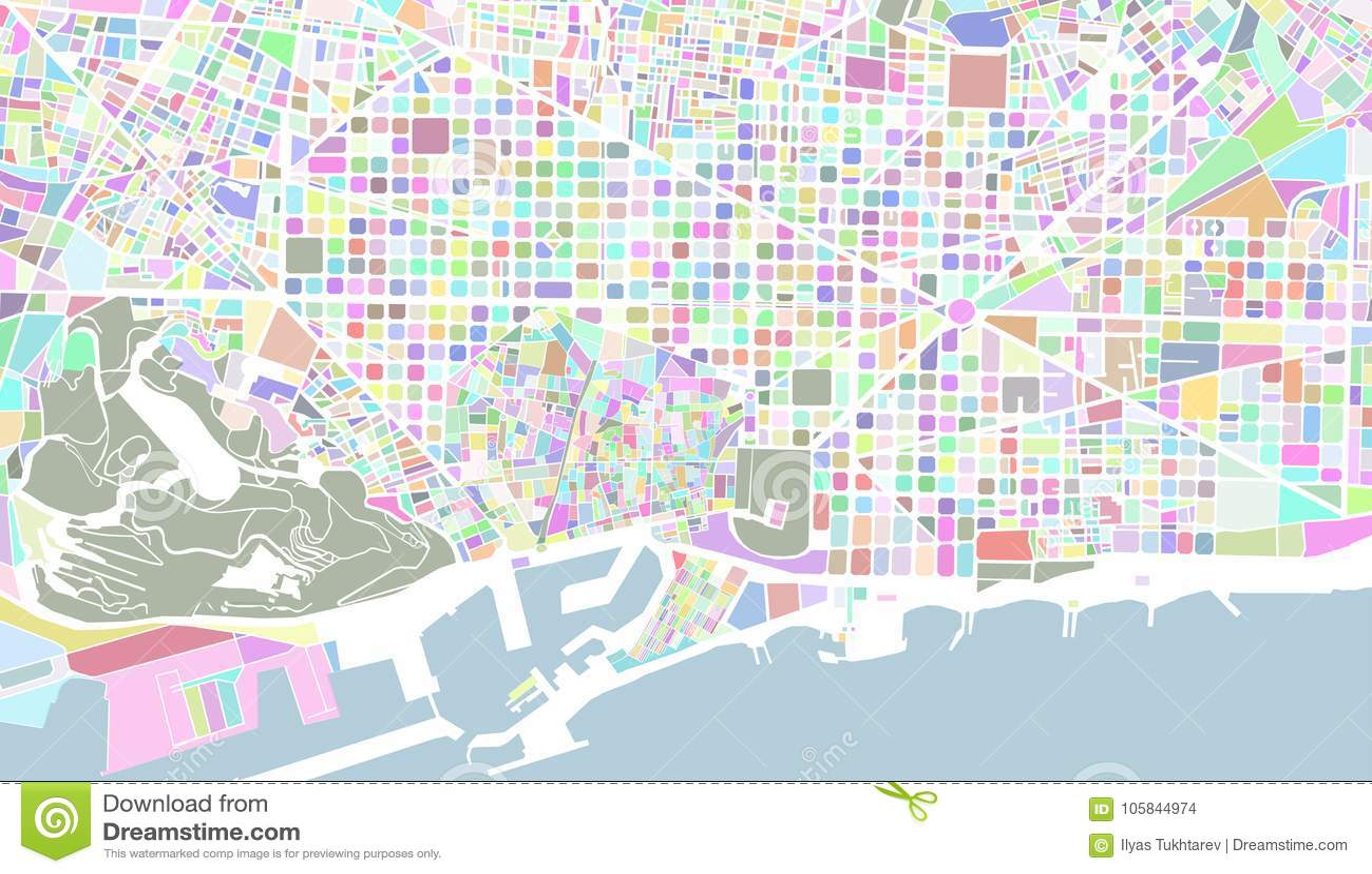 Mapa De La Ciudad De Barcelona Espana Stock De Ilustracion