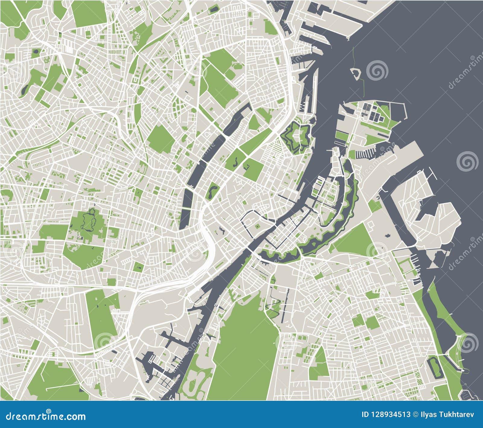 Mapa De La Ciudad De Copenhague Dinamarca Ilustracion Del Vector