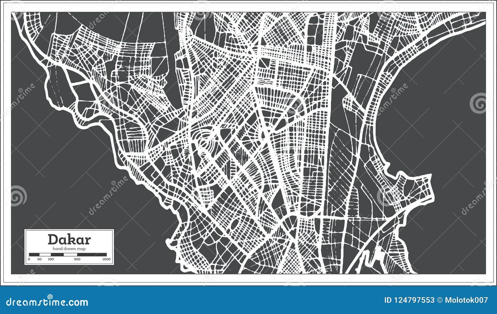 Mapa De La Ciudad De Dakar Senegal En Estilo Retro Ejemplo Blanco
