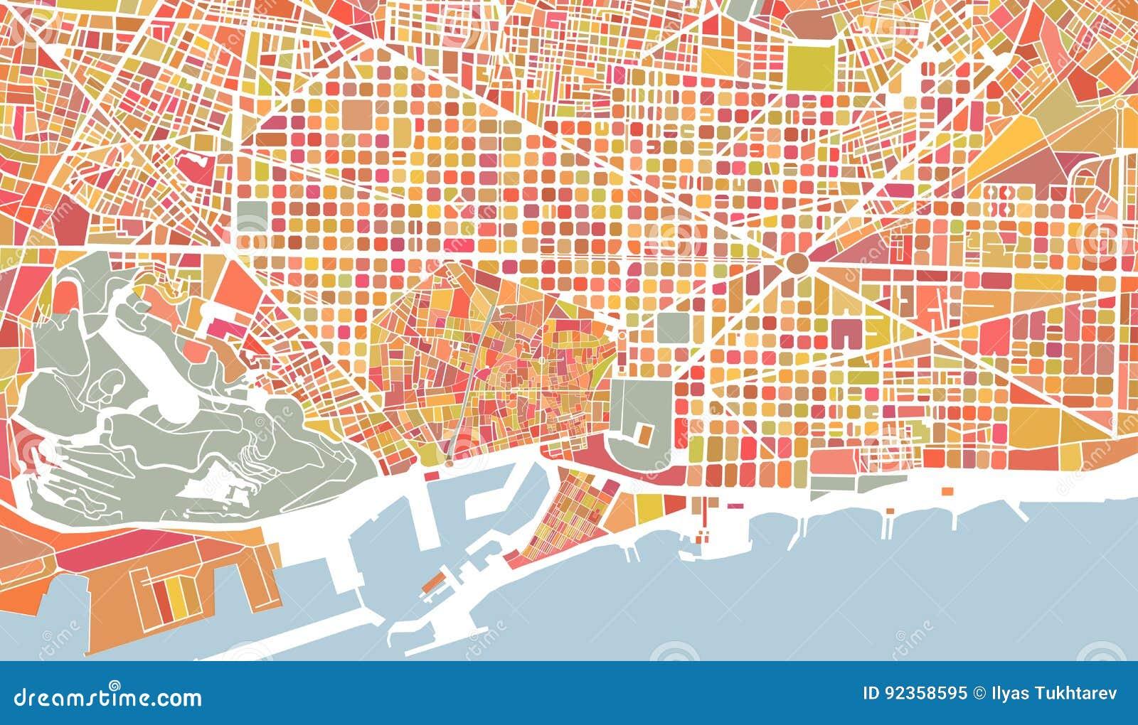 Mapa De La Ciudad De Barcelona Espana Ilustracion Del Vector