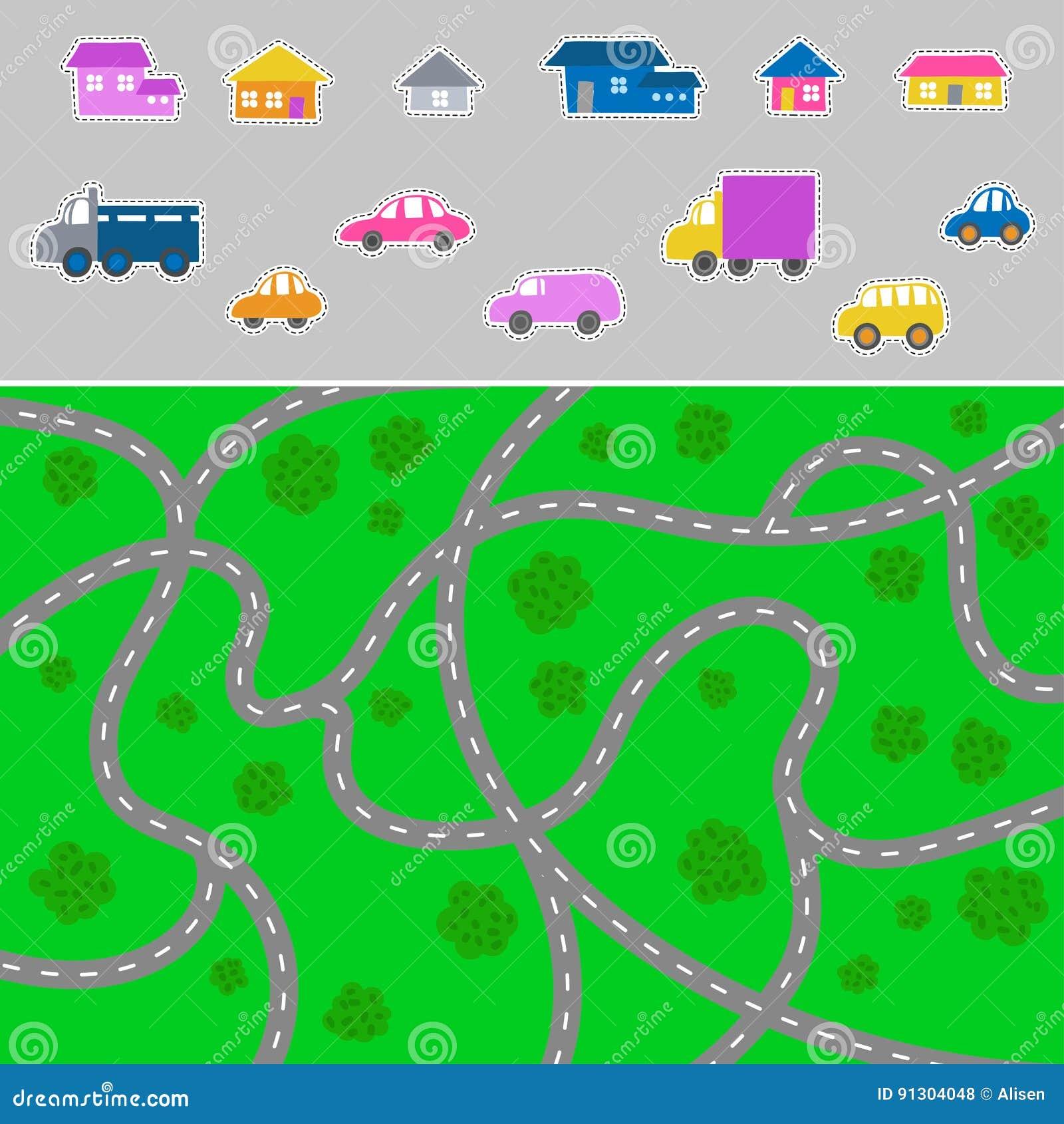 Mapa Ciudad Para Niños.Mapa De La Ciudad Del Nino Vector El Modelo De La Ciudad