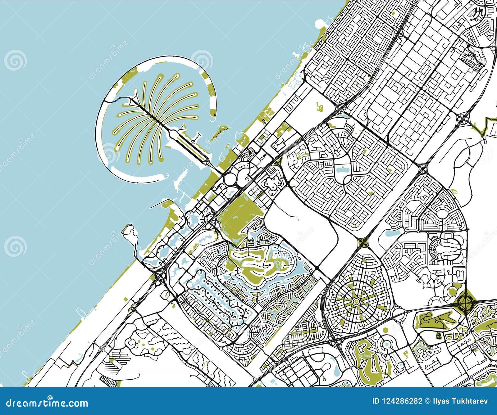 Mapa De La Ciudad De Dubai United Arab Emirates Uae Stock De