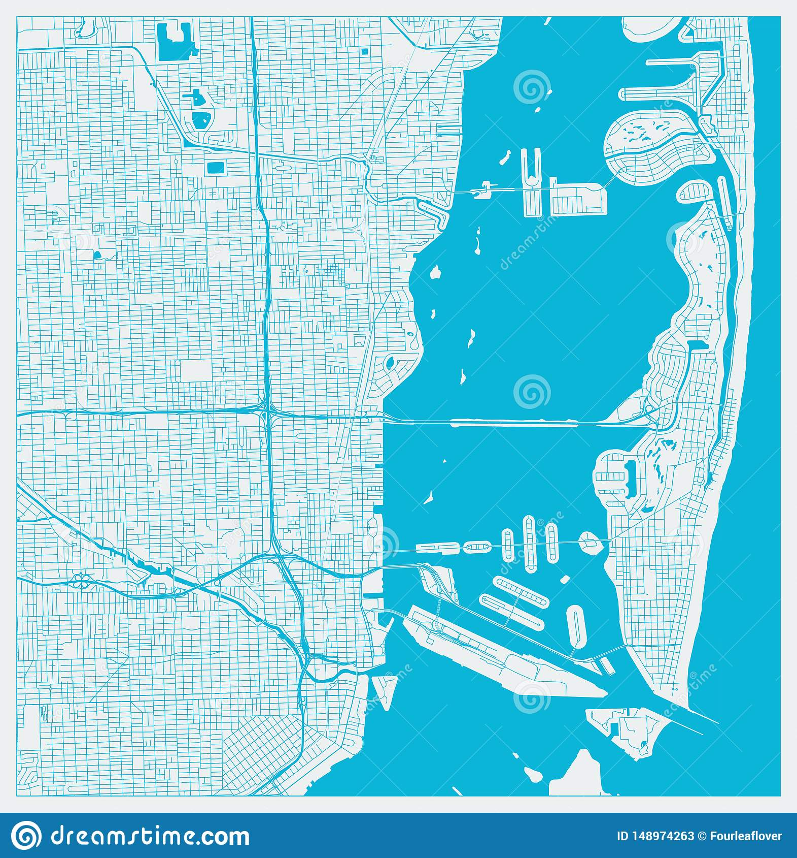 mapa de la ciudad de miami, la florida, los e.e.u.u. en