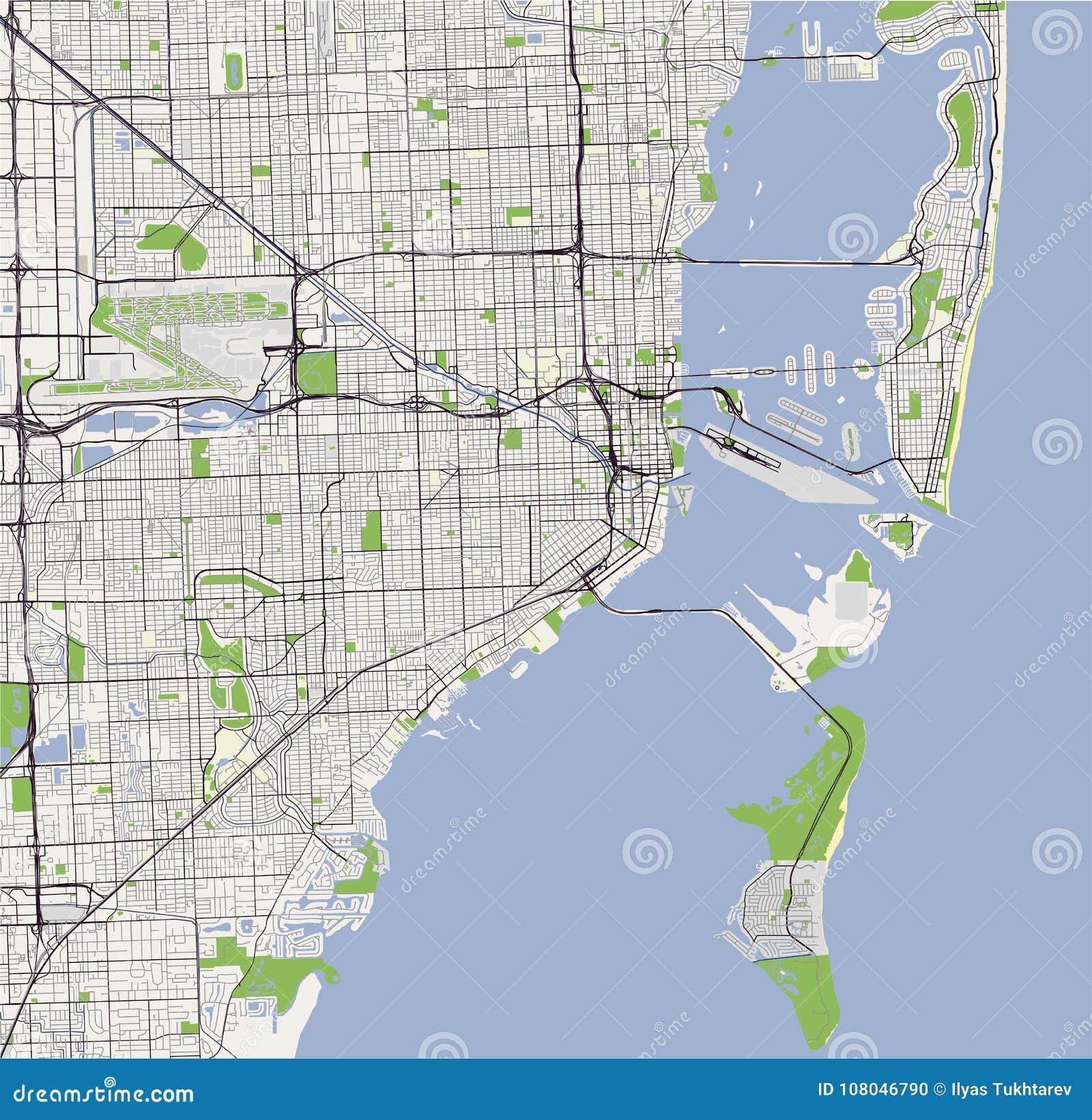 mapa de la ciudad de miami, los e.e.u.u. ilustración del