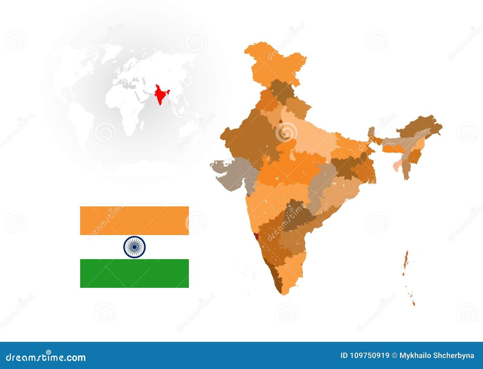 Mapa Rios Del Mundo.Mapa De La India Con Los Rios Y Los Lagos Ilustracion Del