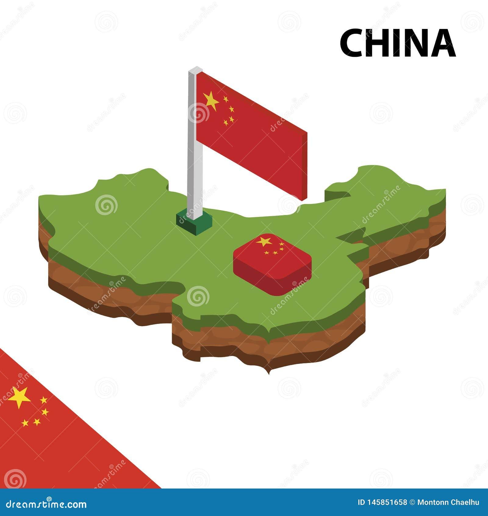 Mapa de la información y bandera isométricos gráficos de CHINA ejemplo isom?trico del vector 3d