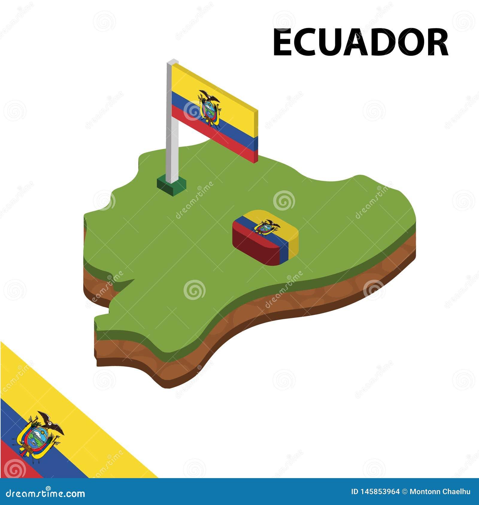 Mapa de la información y bandera isométricos gráficos de ECUADOR ejemplo isom?trico del vector 3d