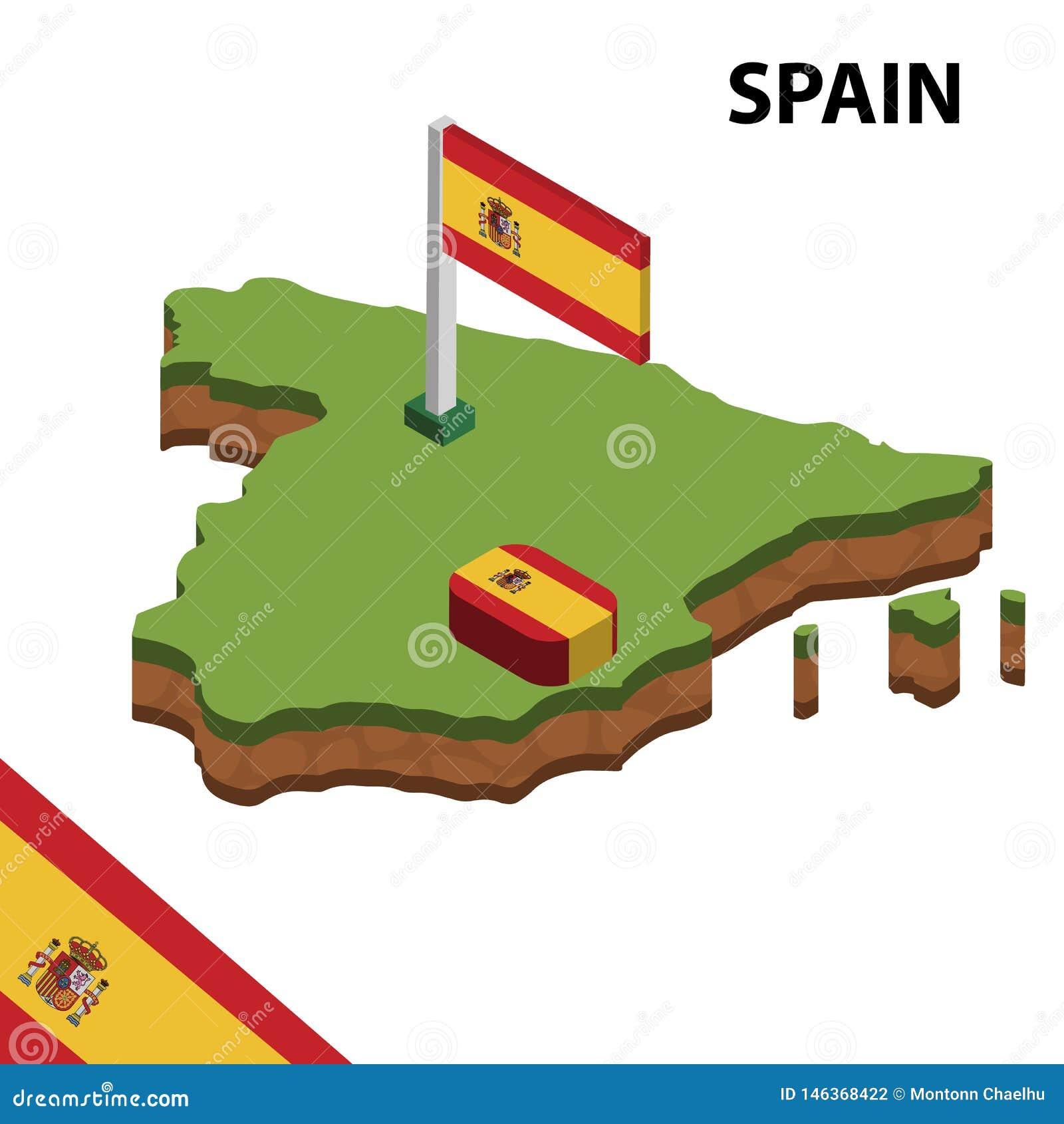 Mapa de la información y bandera isométricos gráficos de ESPAÑA ejemplo isom?trico del vector 3d