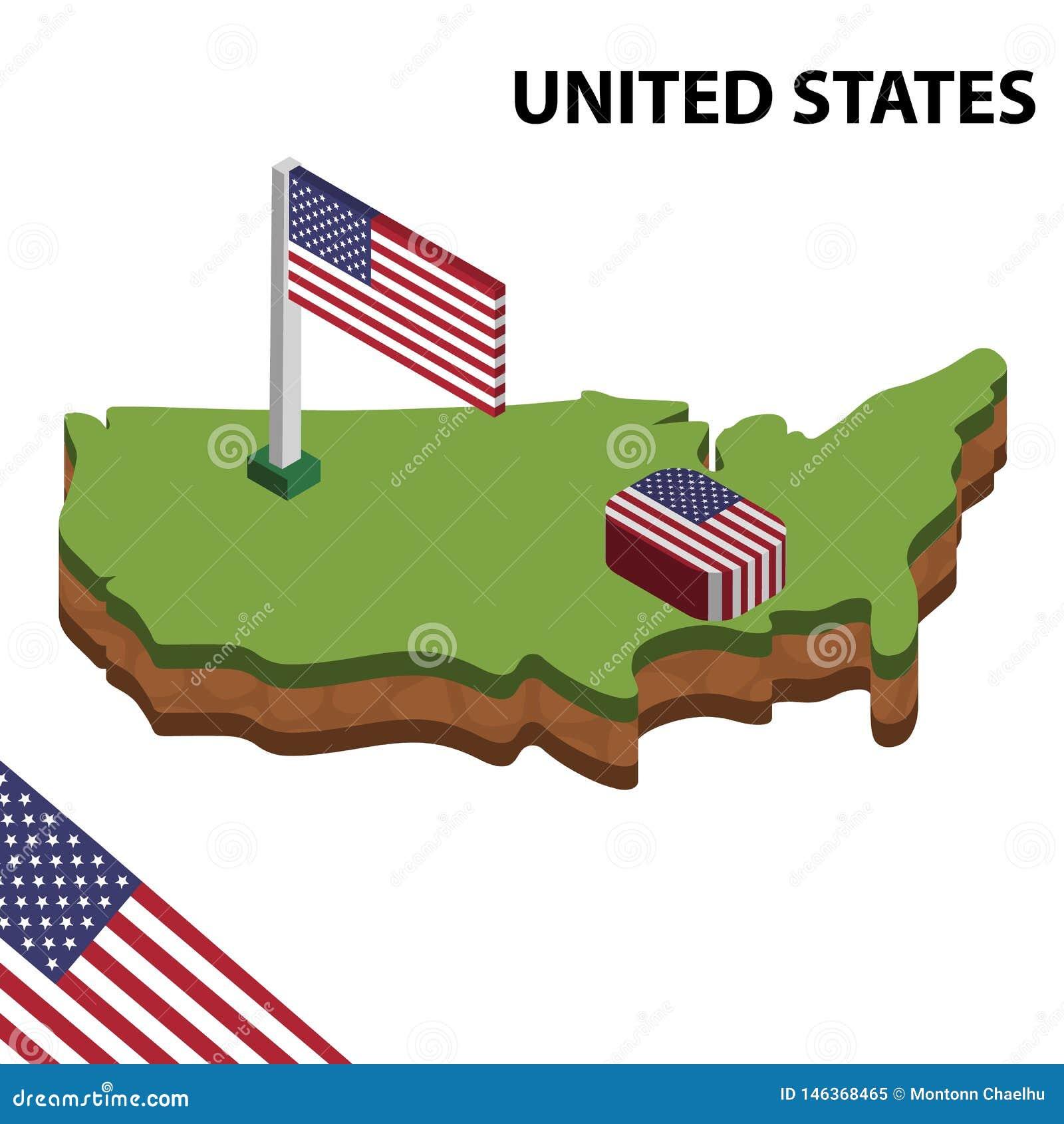 Mapa de la información y bandera isométricos gráficos de ESTADOS UNIDOS ejemplo isom?trico del vector 3d