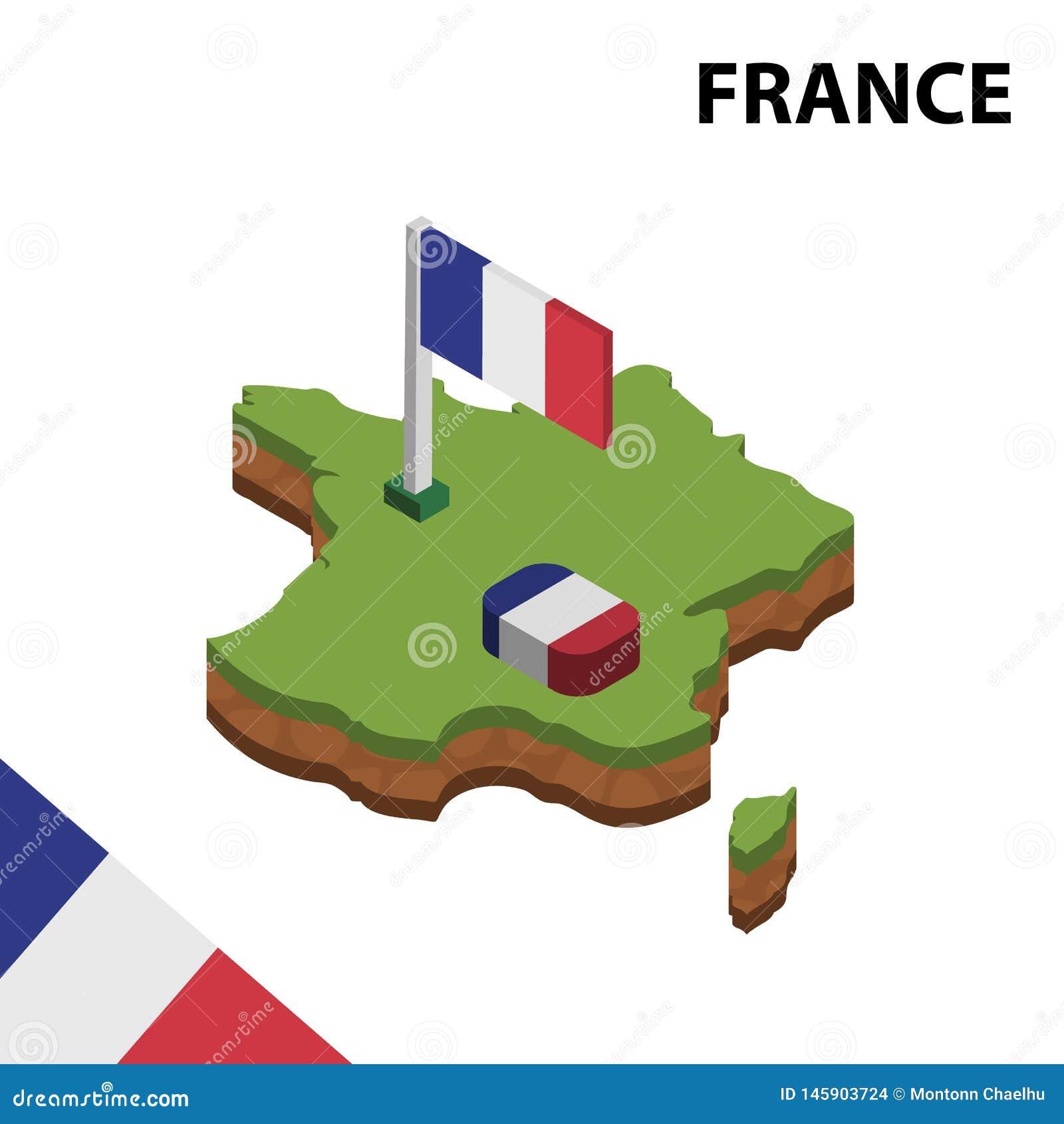 Mapa de la información y bandera isométricos gráficos de FRANCIA ejemplo isom?trico del vector 3d